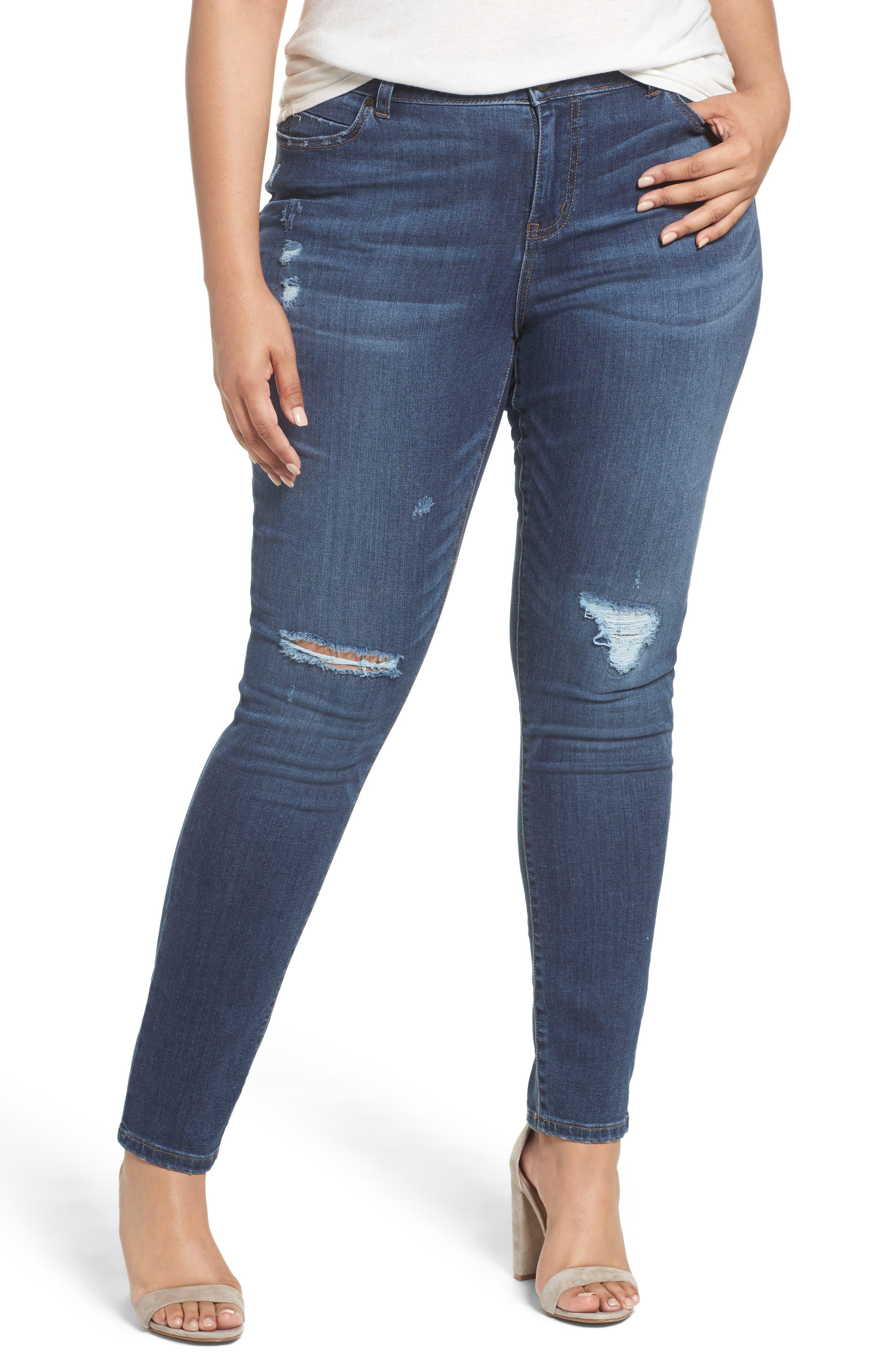 Caslon® Rip Repair Skinny Jeans (Octavia) (Plus Size)