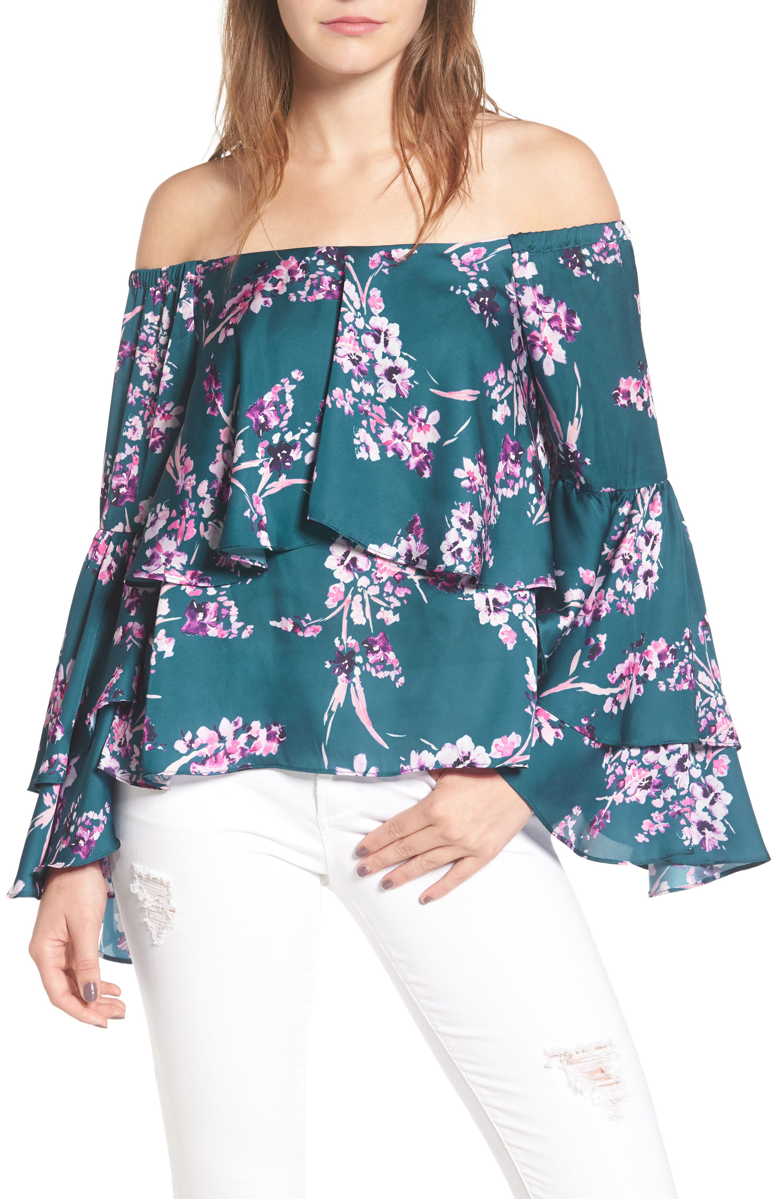 Chelsea Off the Shoulder Ruffle Blouse,                         Main,                         color, Moroccan Blossom