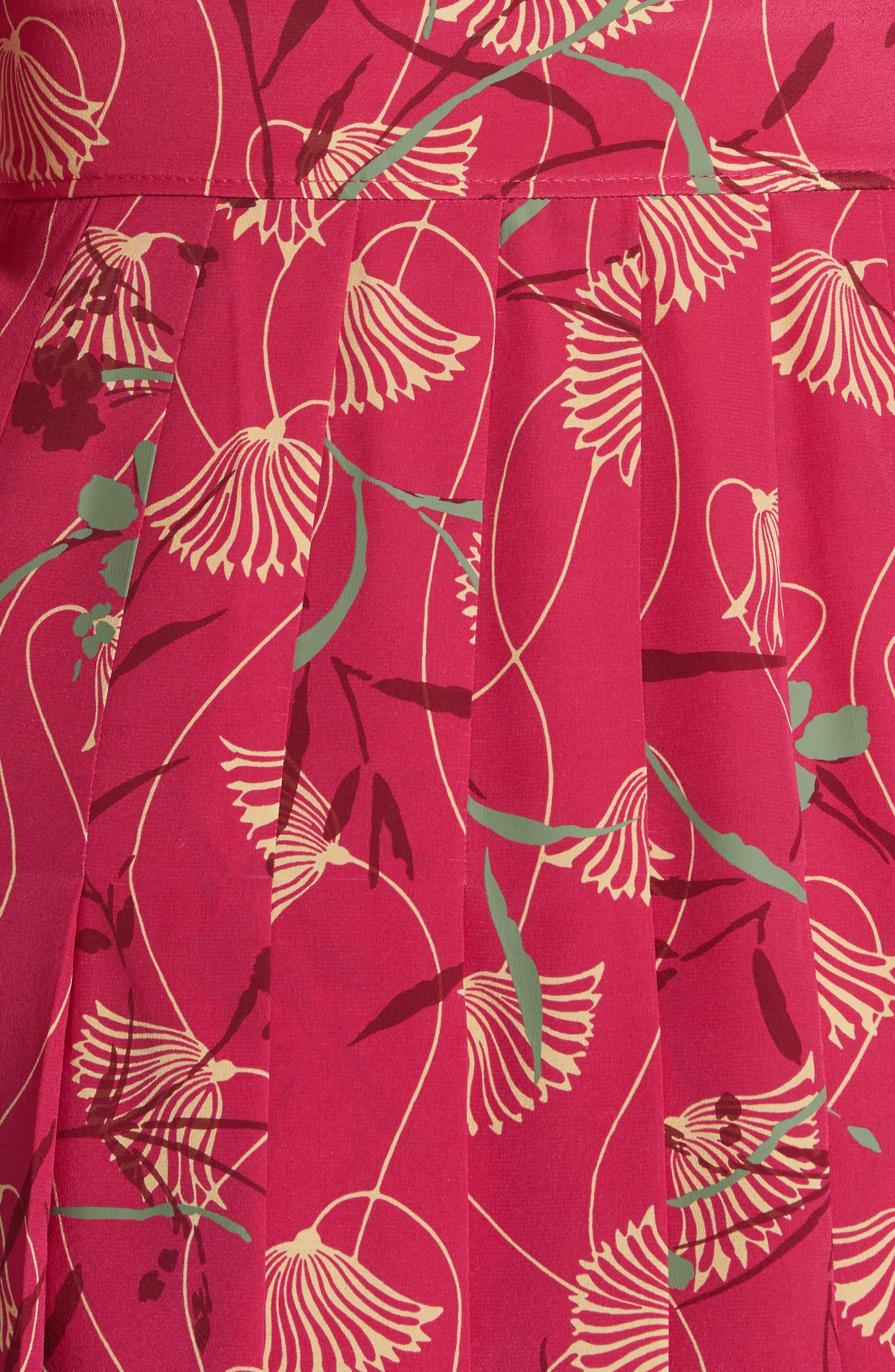 Lotus Print Silk Tie Neck Dress,                             Alternate thumbnail 6, color,                             Pink