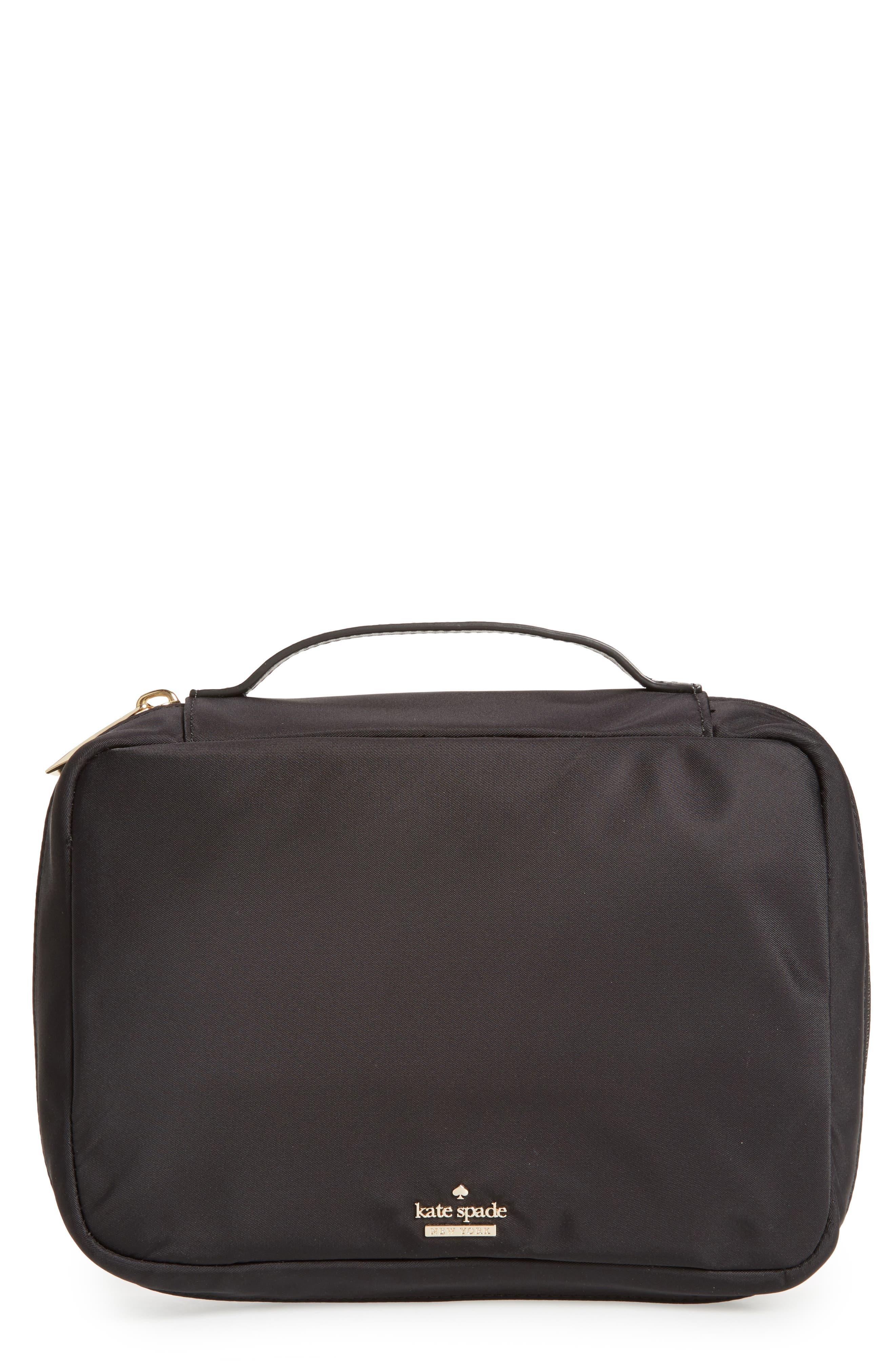 classic baylor nylon cosmetics case,                         Main,                         color, Black