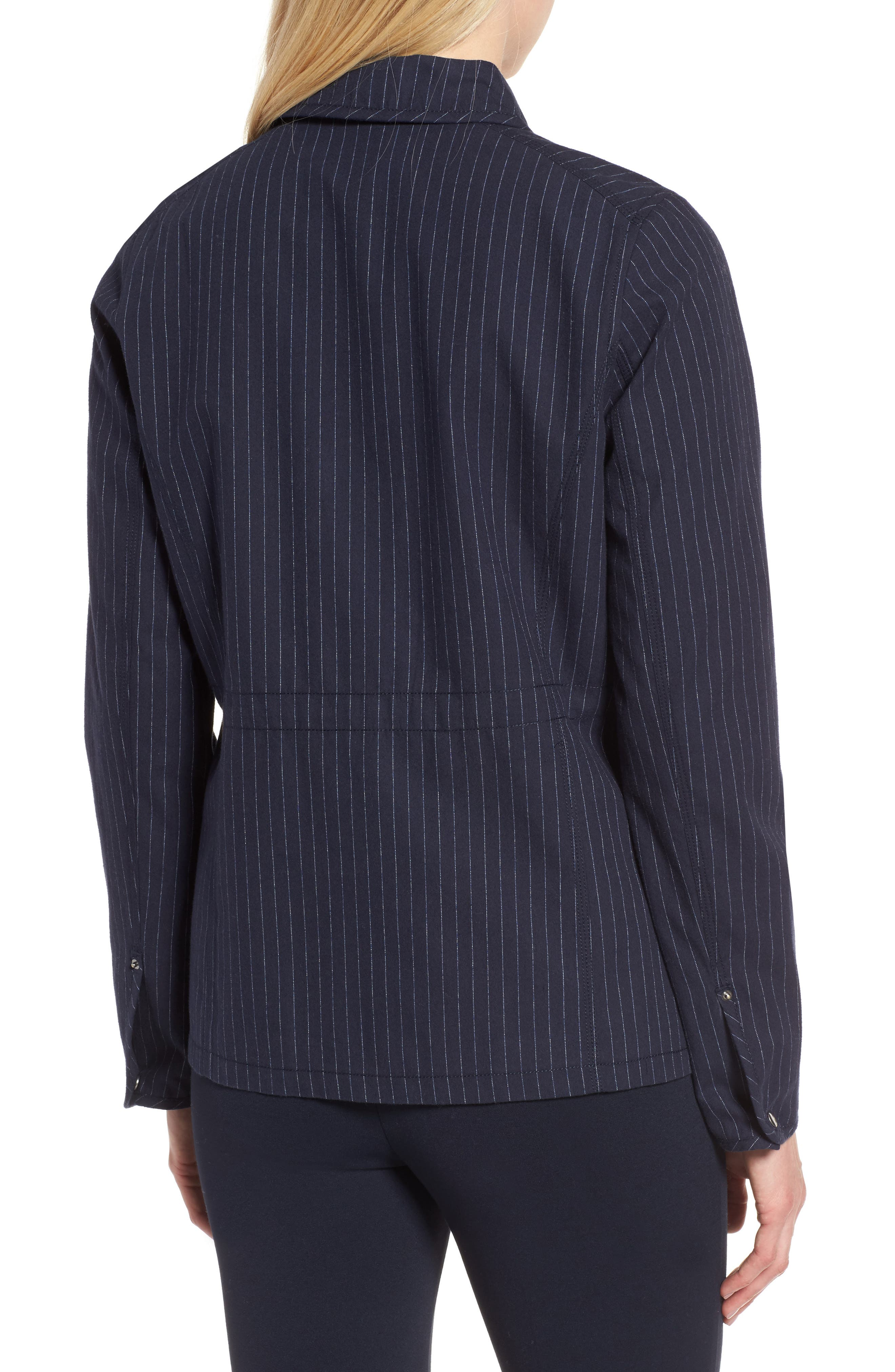 Pinstripe Utility Jacket,                             Alternate thumbnail 2, color,                             Navy- Ivory Pinstripe