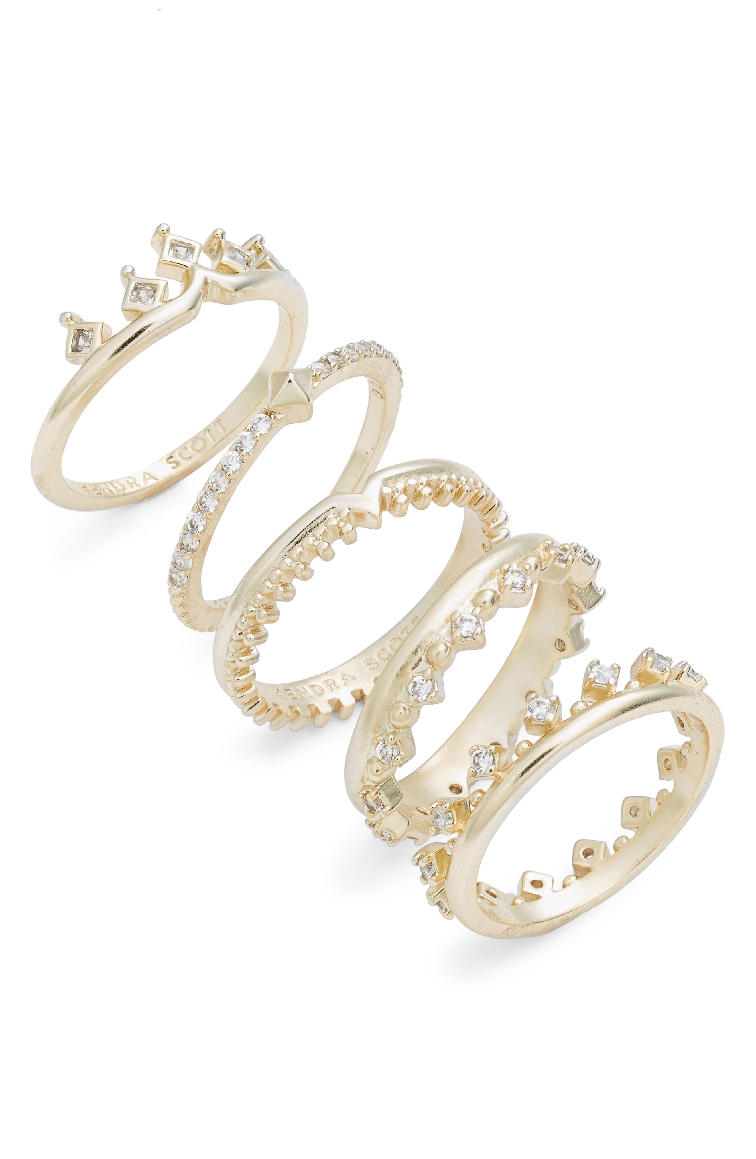 Set of 5 Violette Rings,                         Main,                         color, Gold