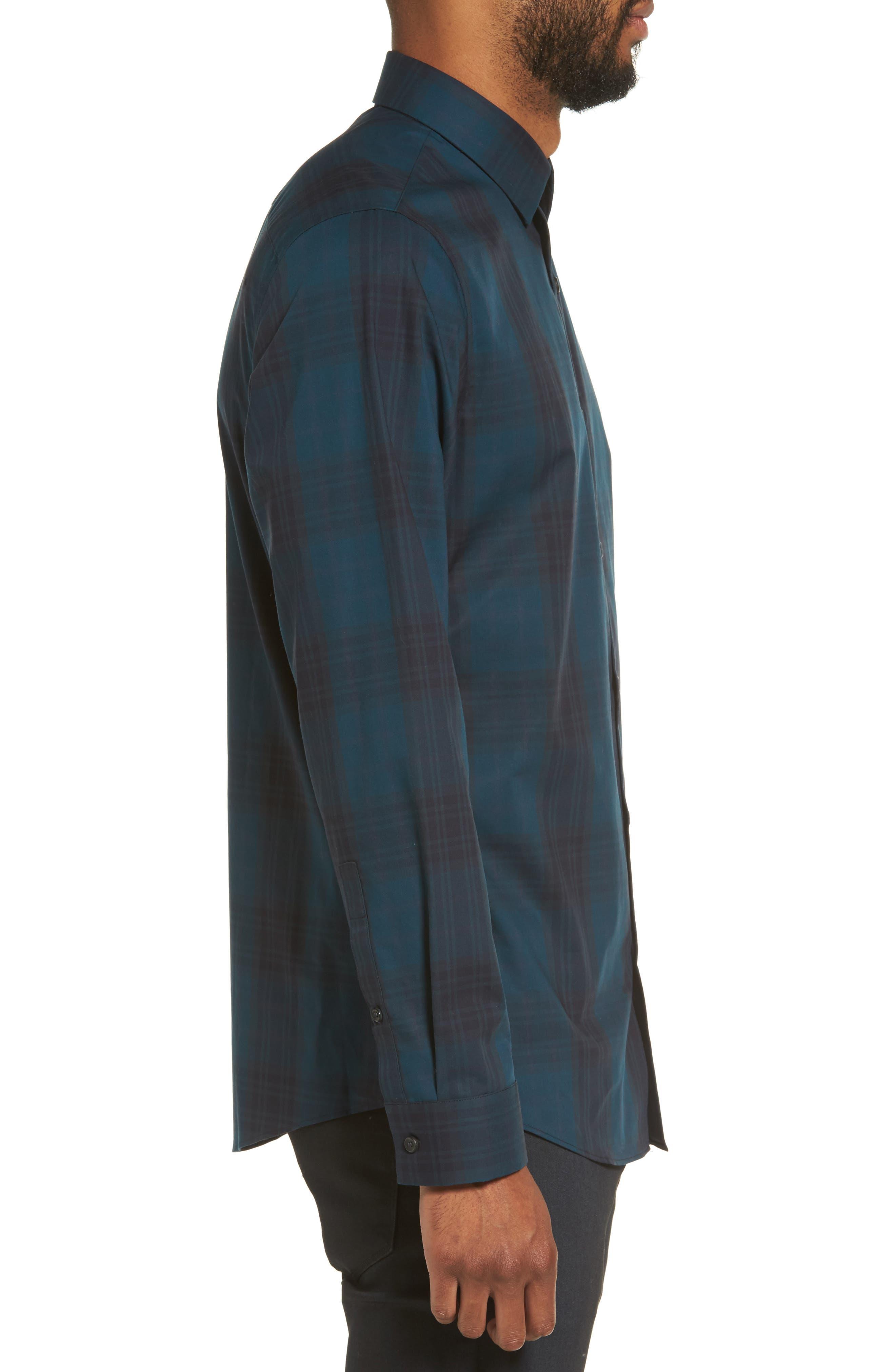 Check Sport Shirt,                             Alternate thumbnail 3, color,                             Blue Legion Navy Plaid