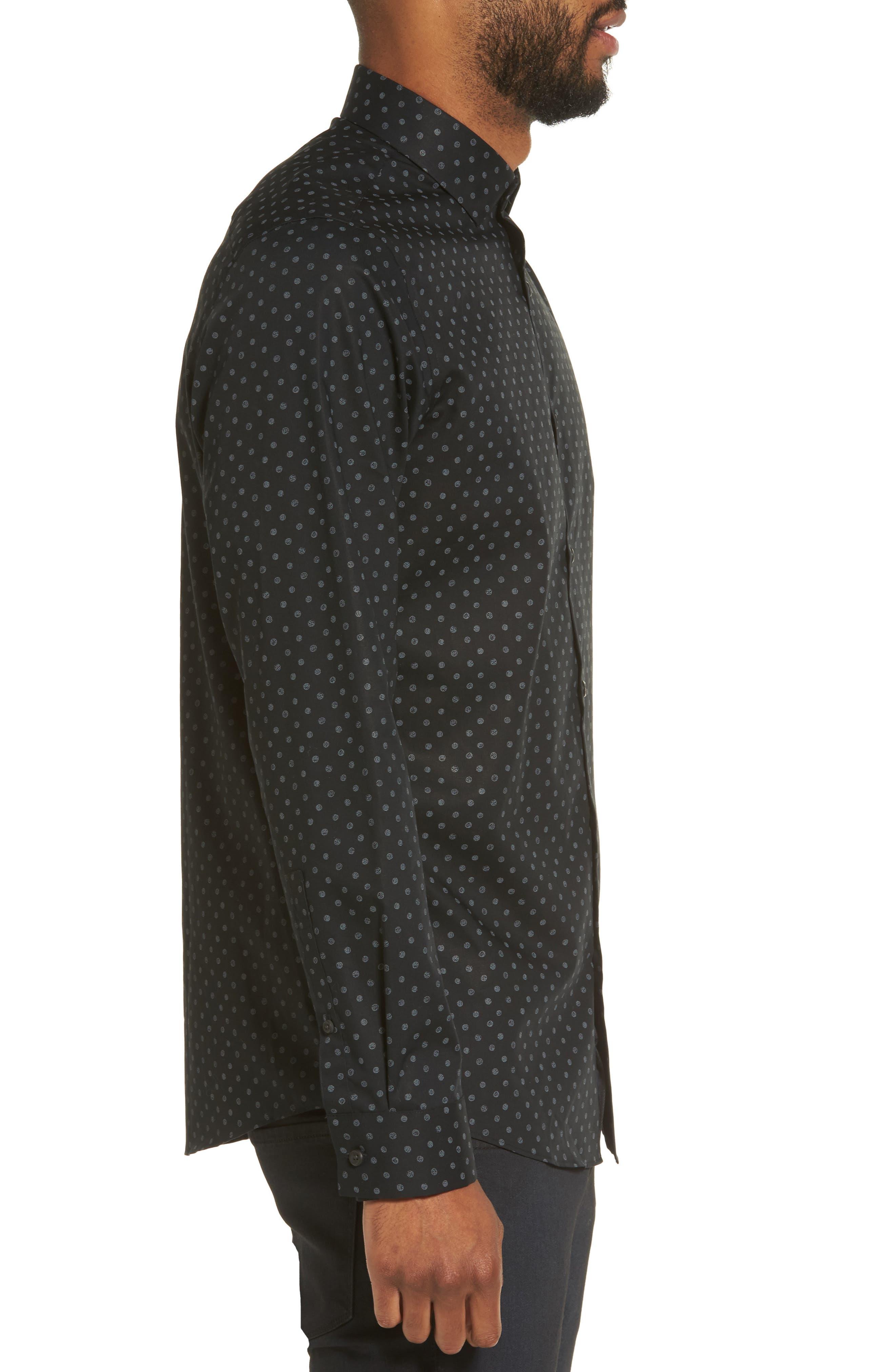 Dot Print Sport Shirt,                             Alternate thumbnail 3, color,                             Black Caviar Grey Dot Print