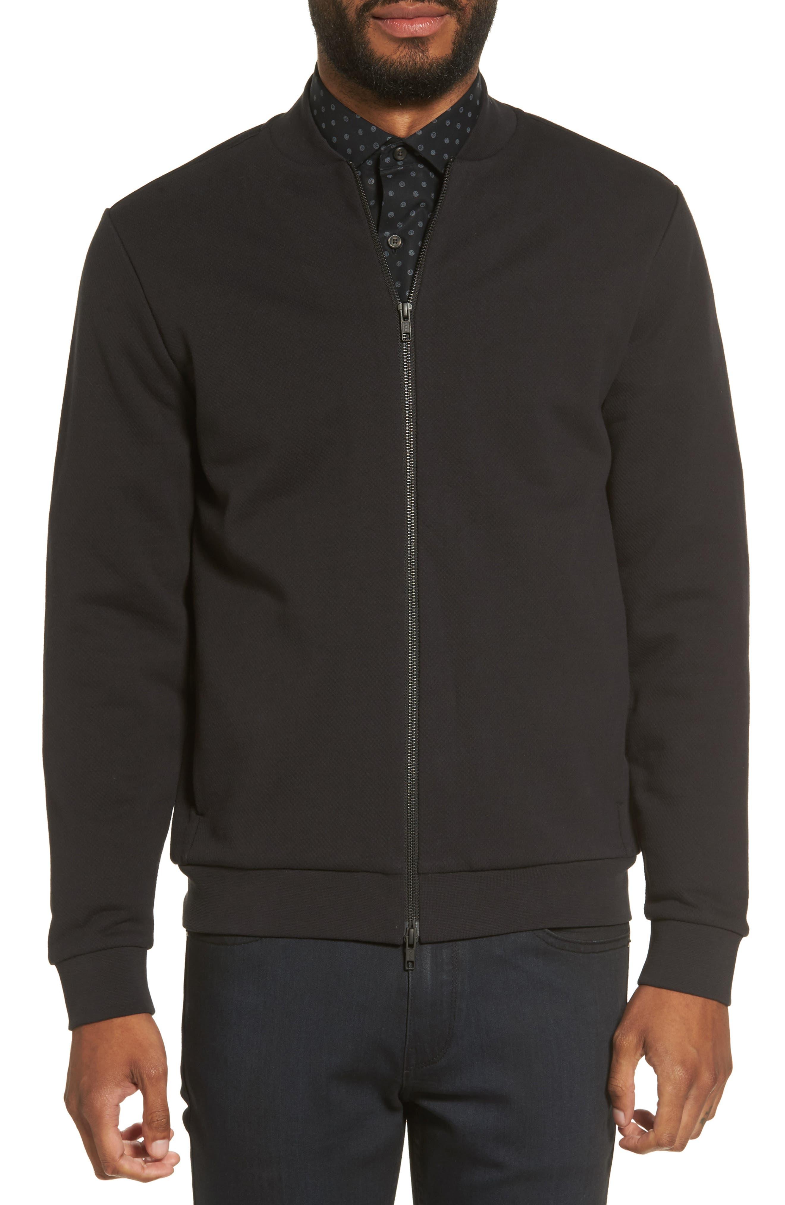 Zip Fleece Bomber Jacket,                             Main thumbnail 1, color,                             Black Caviar
