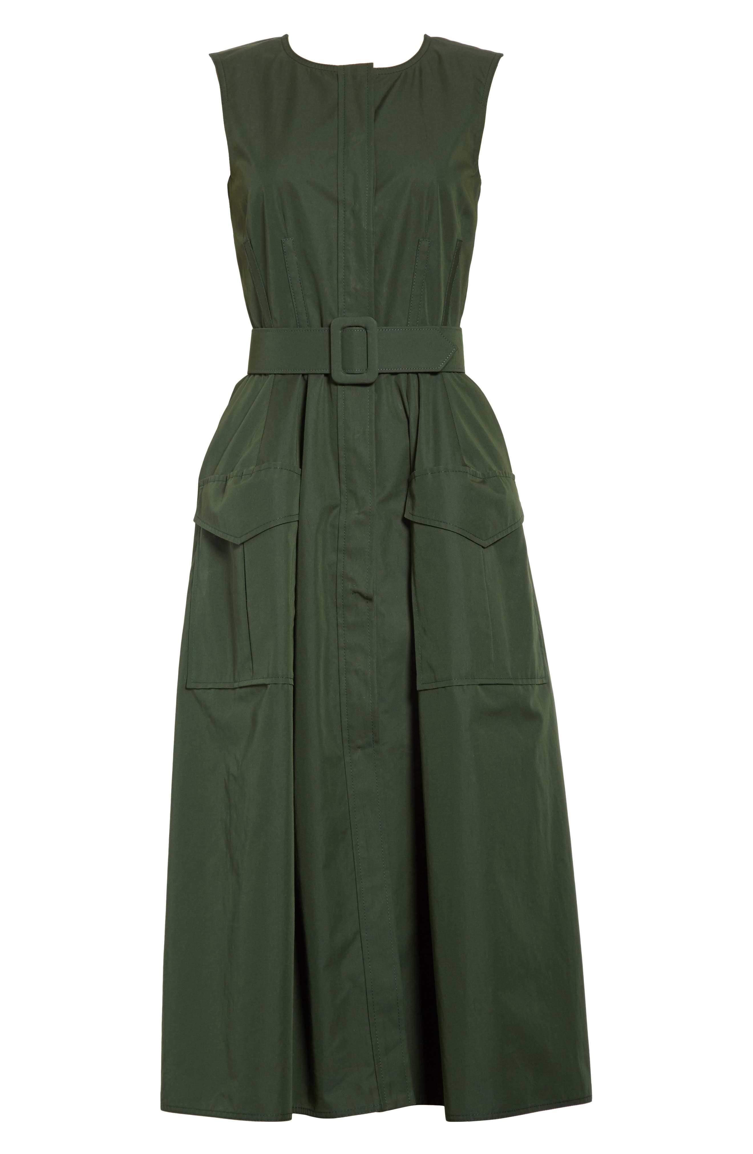 Safari Micro Twill Dress,                             Alternate thumbnail 6, color,                             Fern