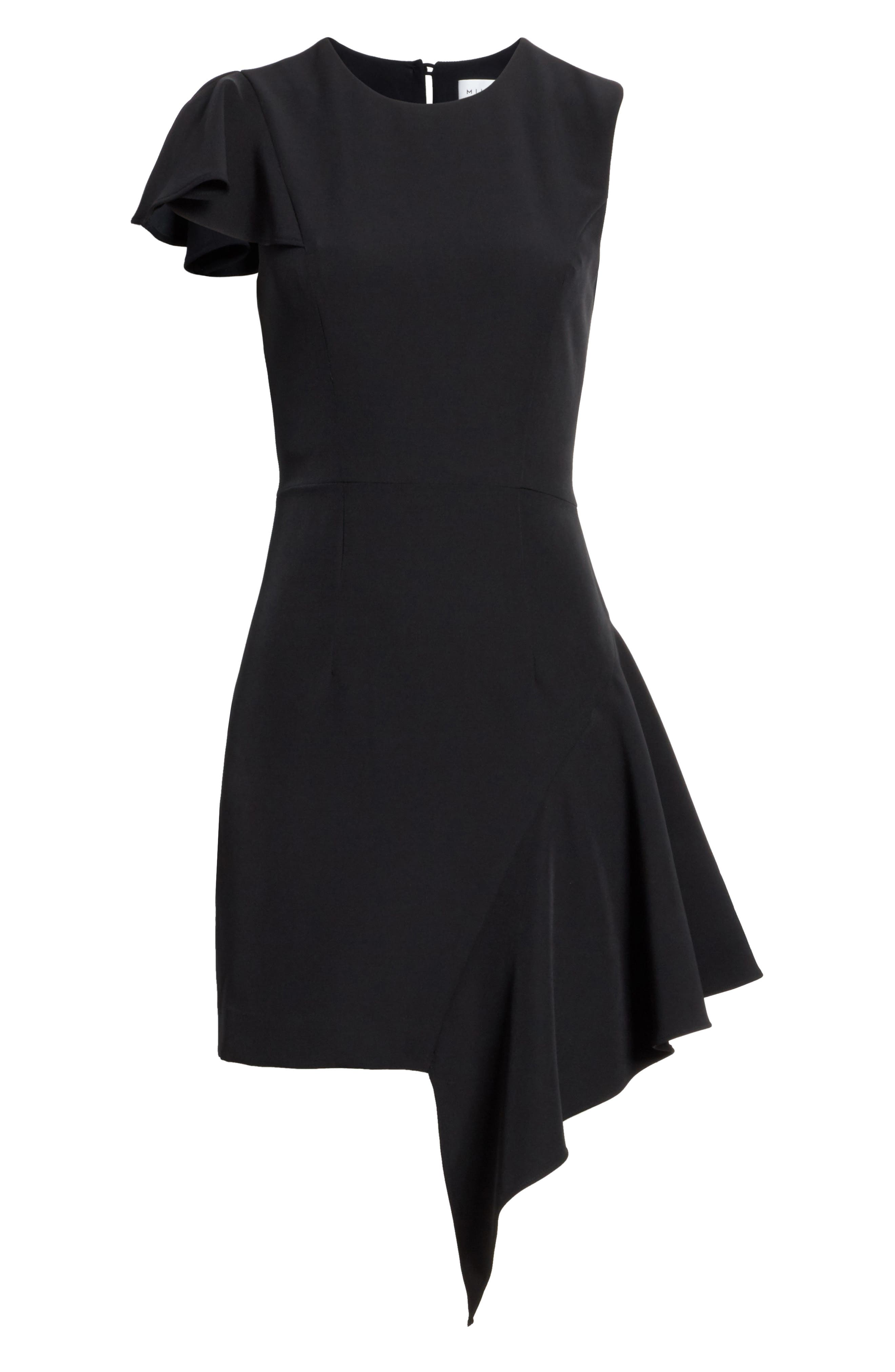 Asymmetrical Ruffle Stretch Cady Dress,                             Alternate thumbnail 6, color,                             Black