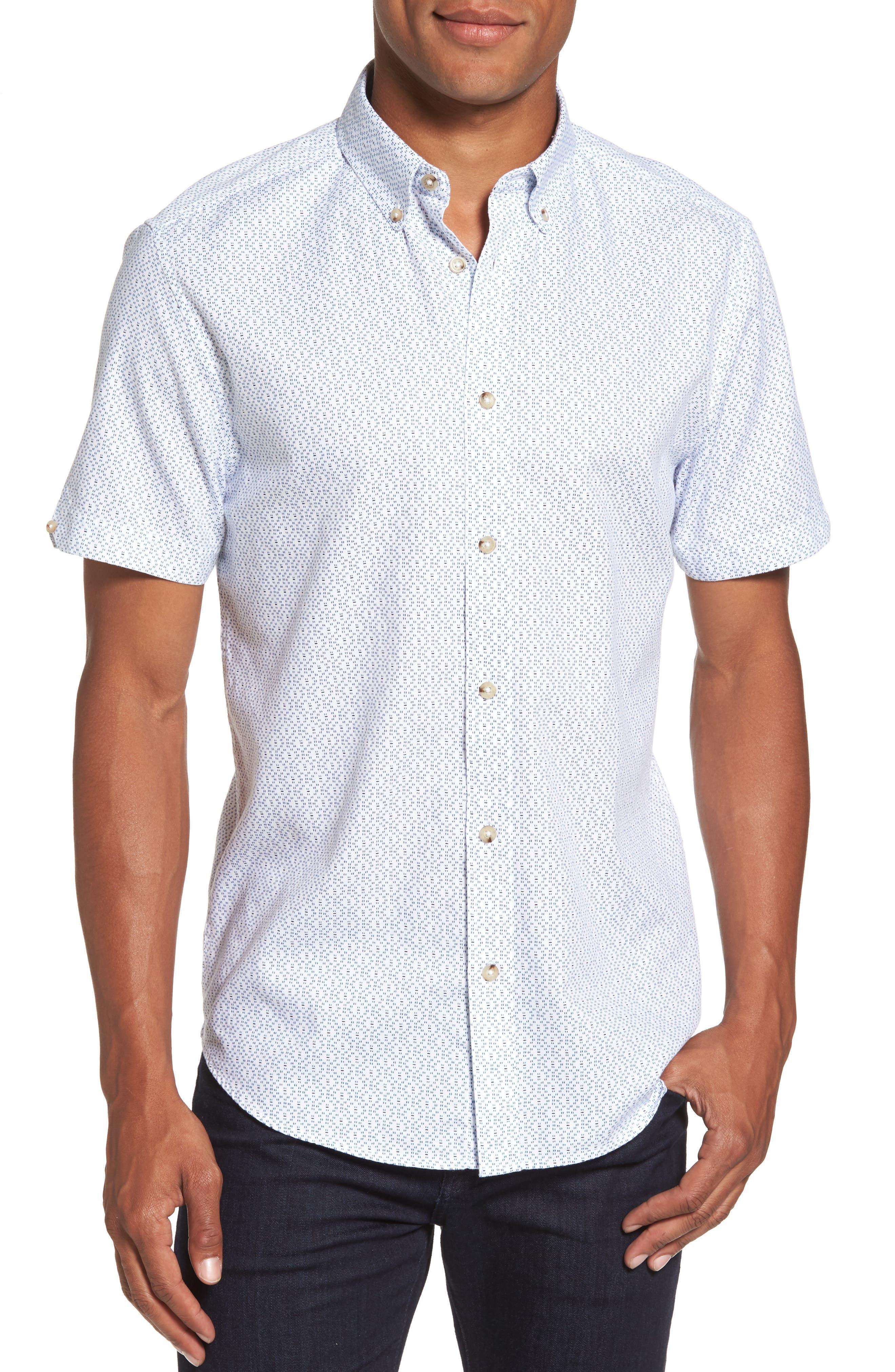 Ben Sherman Textured Dash Print Short Sleeve Shirt