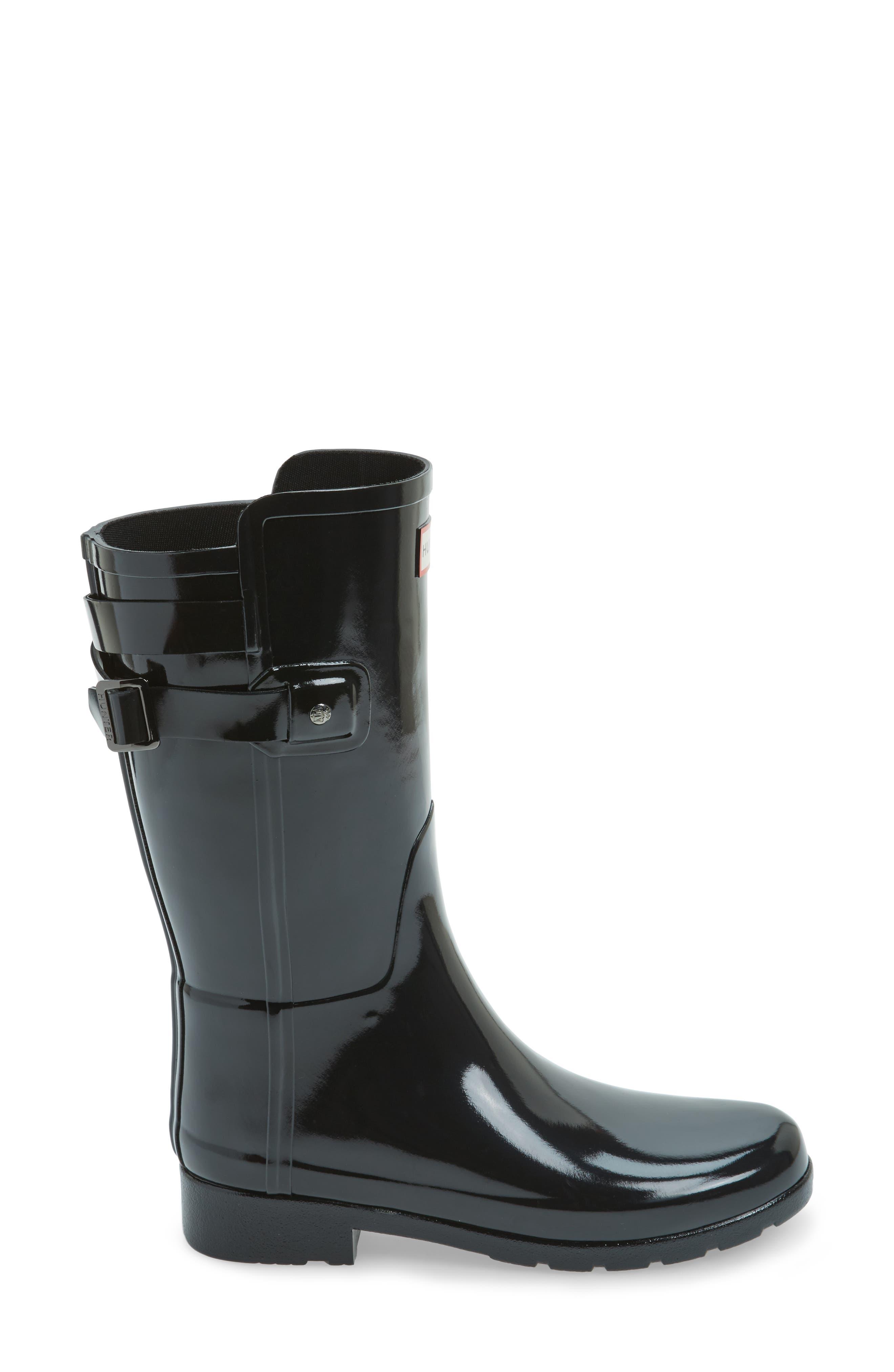 Original Refined Back Strap Rain Boot,                             Alternate thumbnail 3, color,                             Black