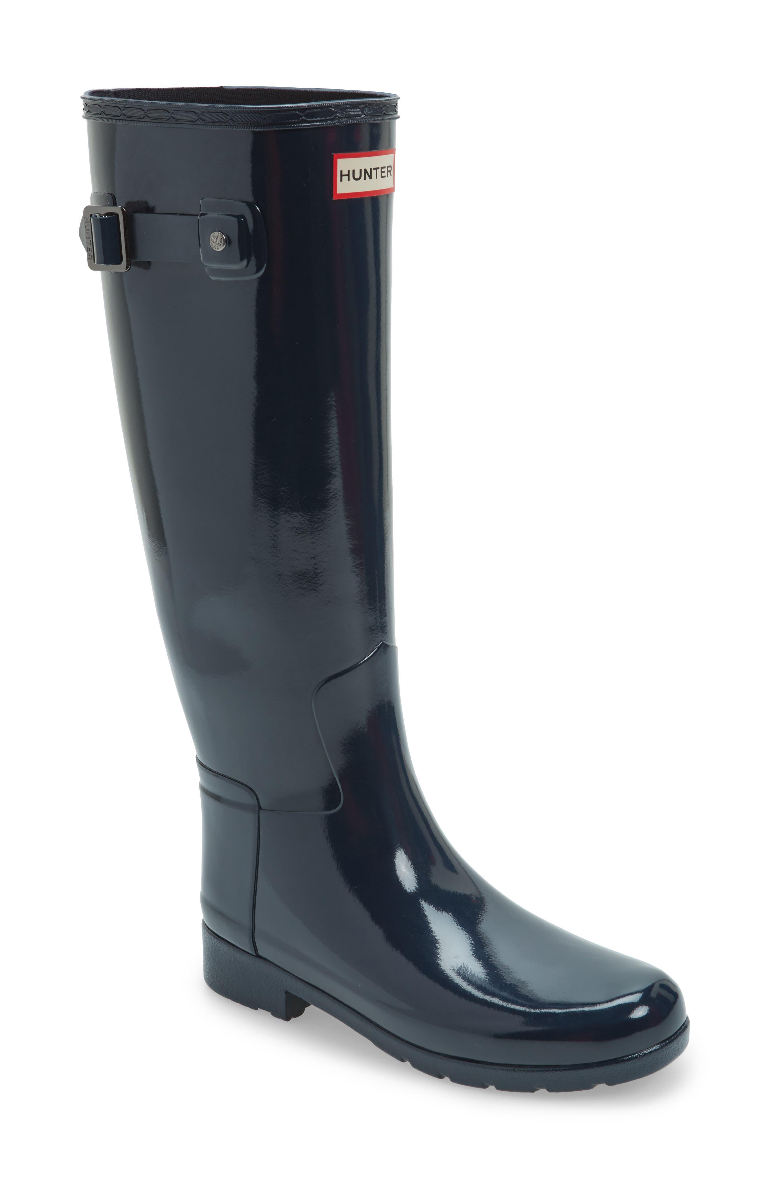 'Original Refined' High Gloss Rain Boot,                         Main,                         color, Navy