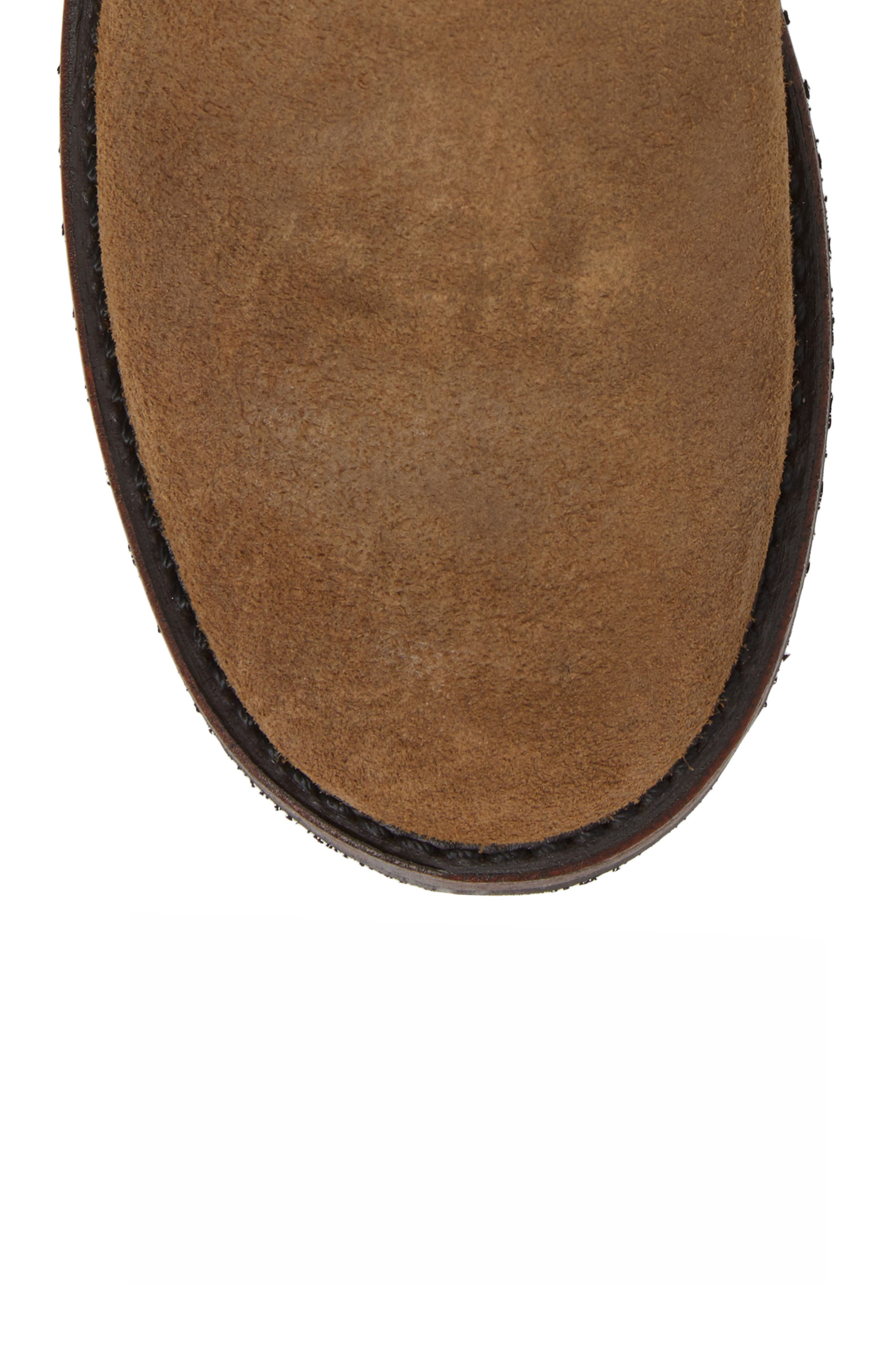 Logan Chelsea Boot,                             Alternate thumbnail 5, color,                             Chestnut Waxed Suede