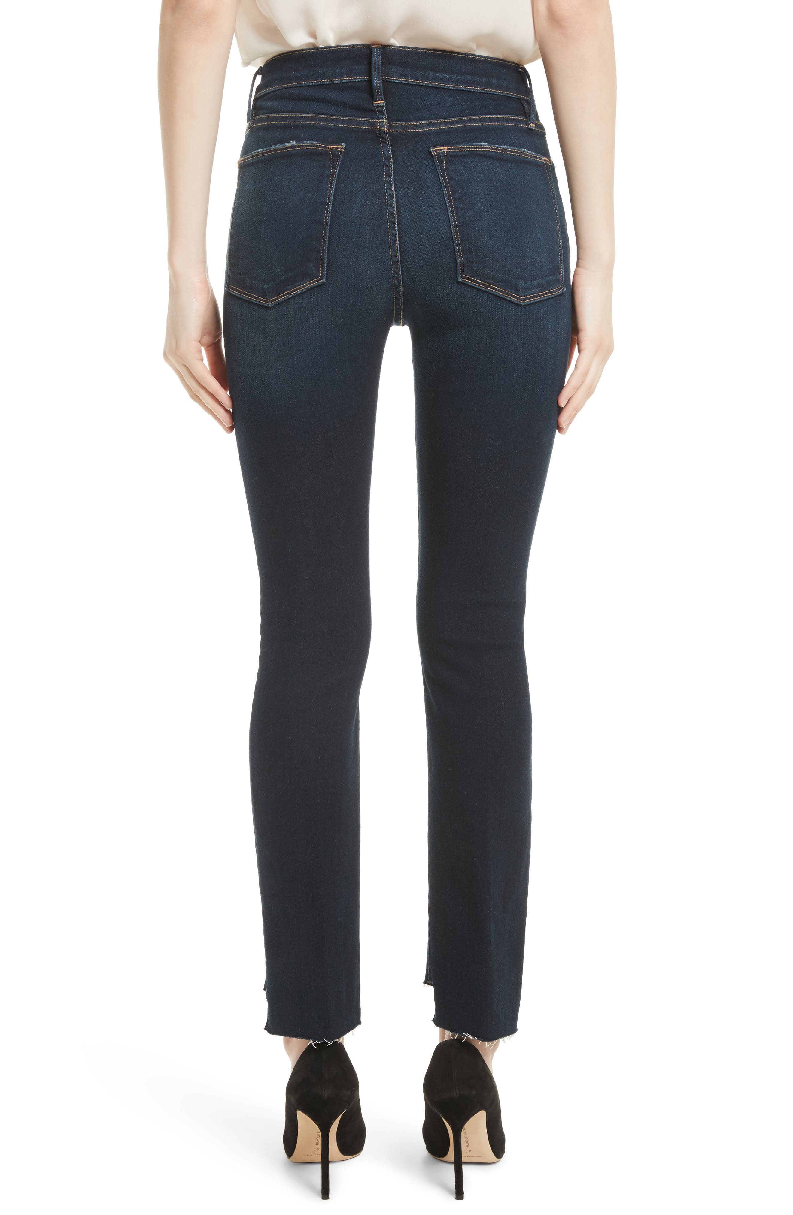 Le High Straight Raw Stagger Jeans,                             Alternate thumbnail 3, color,                             Cabana