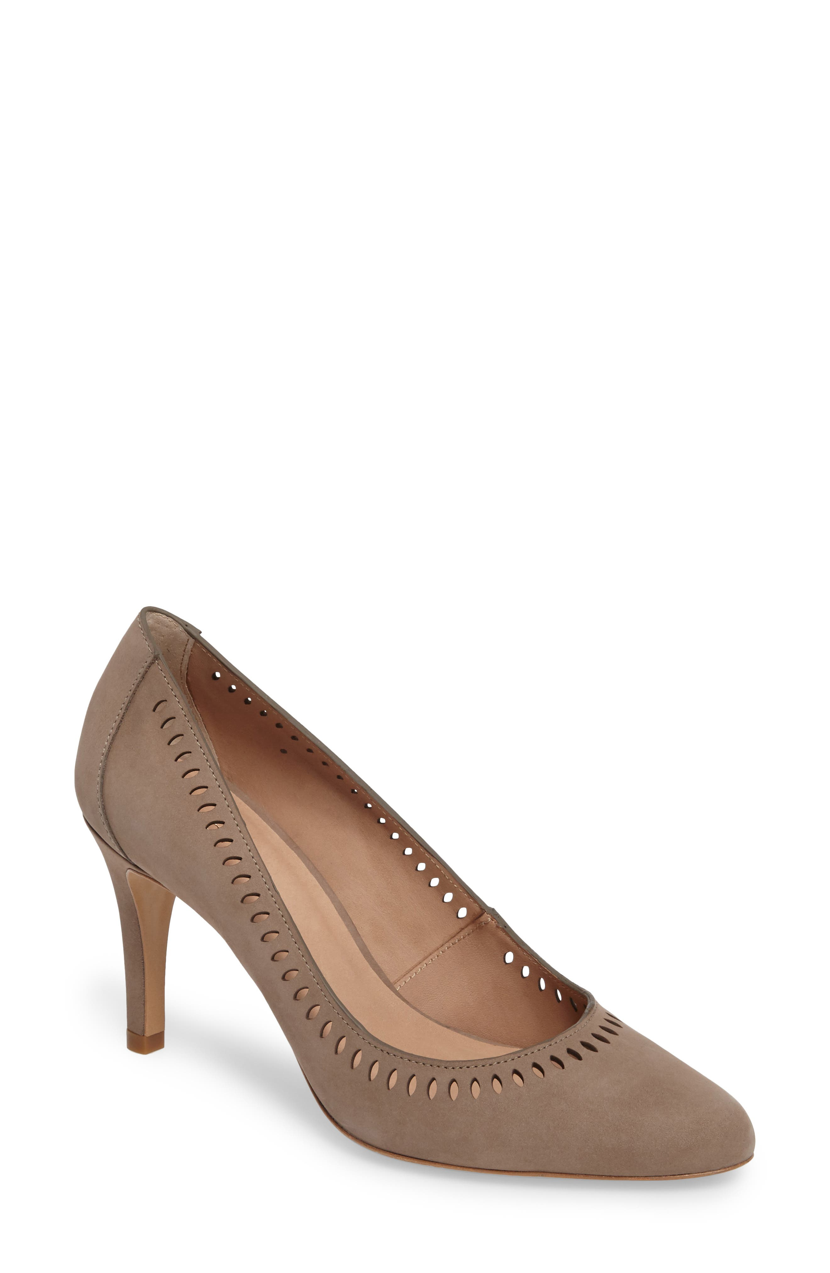 Beleza Perforated Pump,                             Main thumbnail 1, color,                             Taupe Nubuck Leather