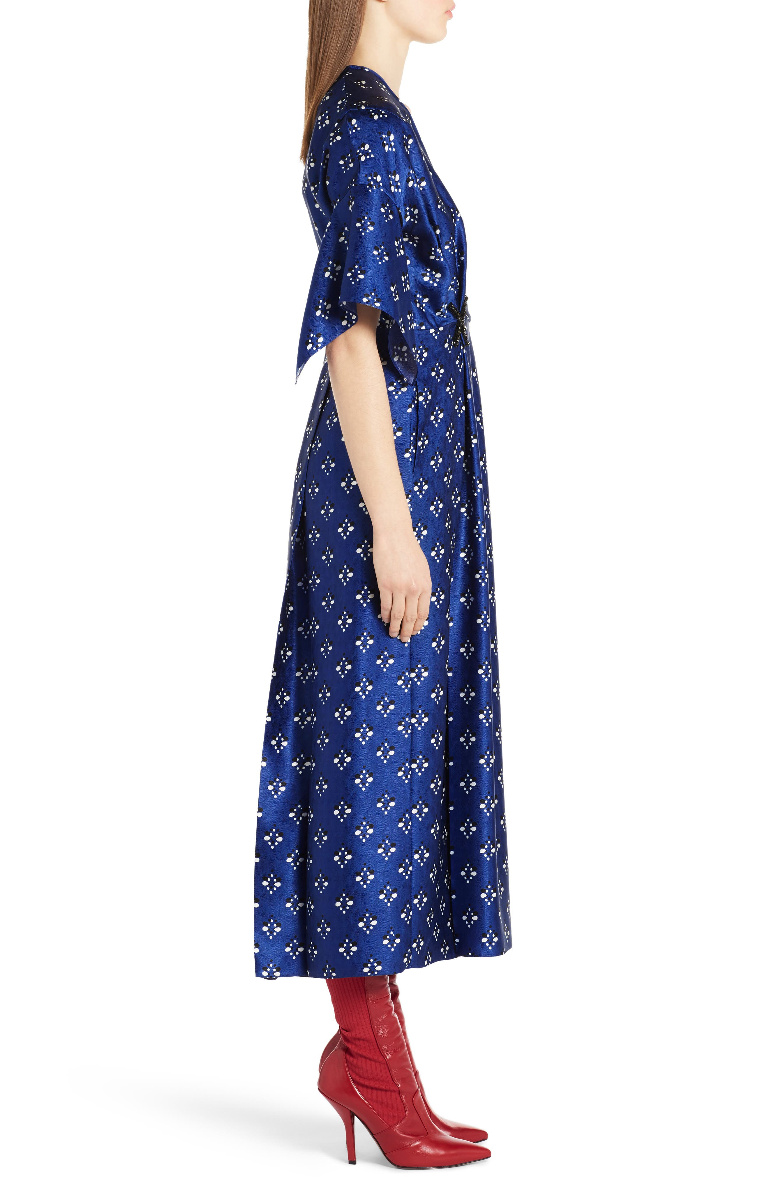 Drops Print Silk Dress,                             Alternate thumbnail 3, color,                             Blue Print