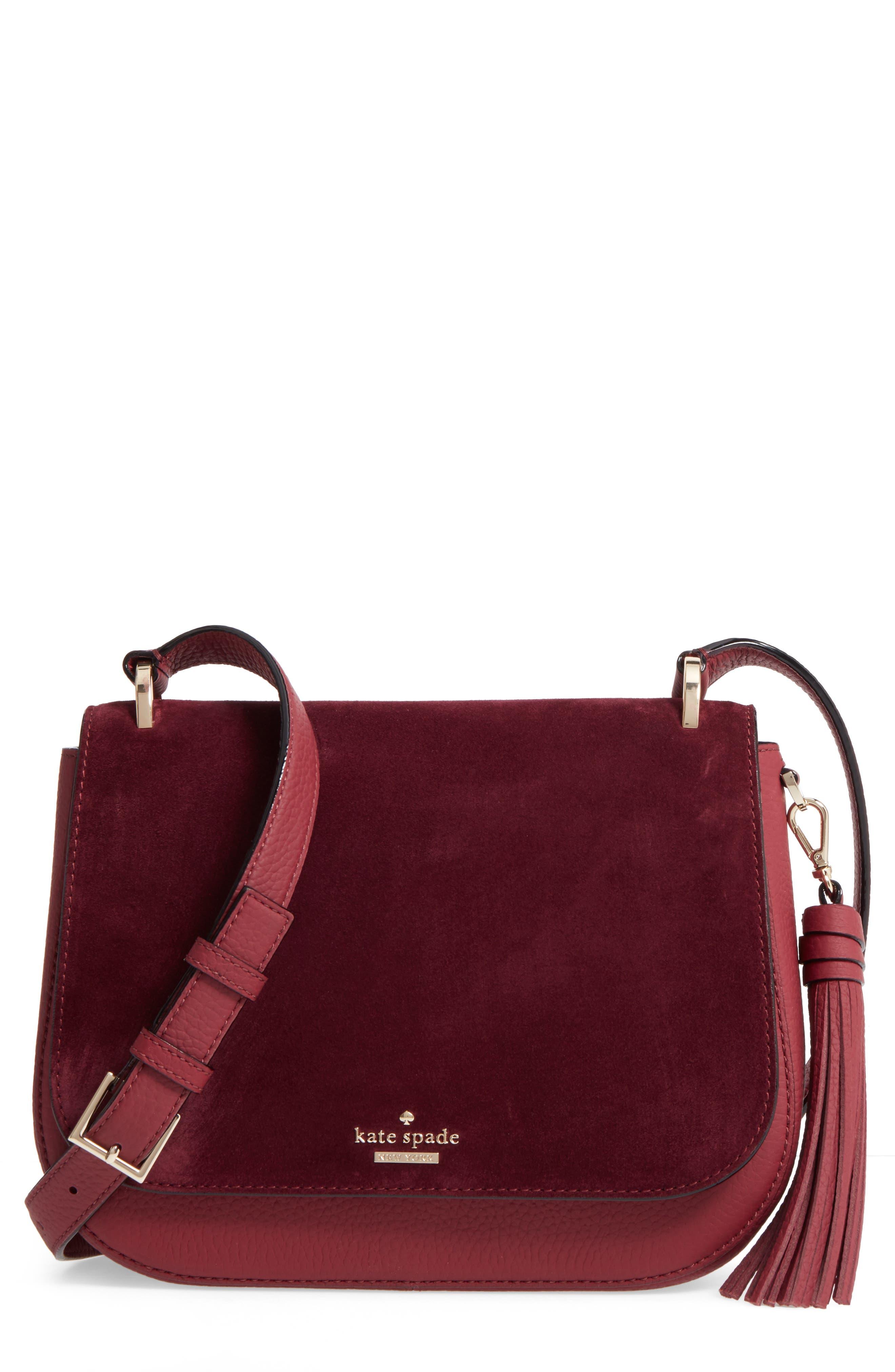 KATE SPADE NEW YORK daniels drive - tressa suede & leather shoulder/crossbody bag
