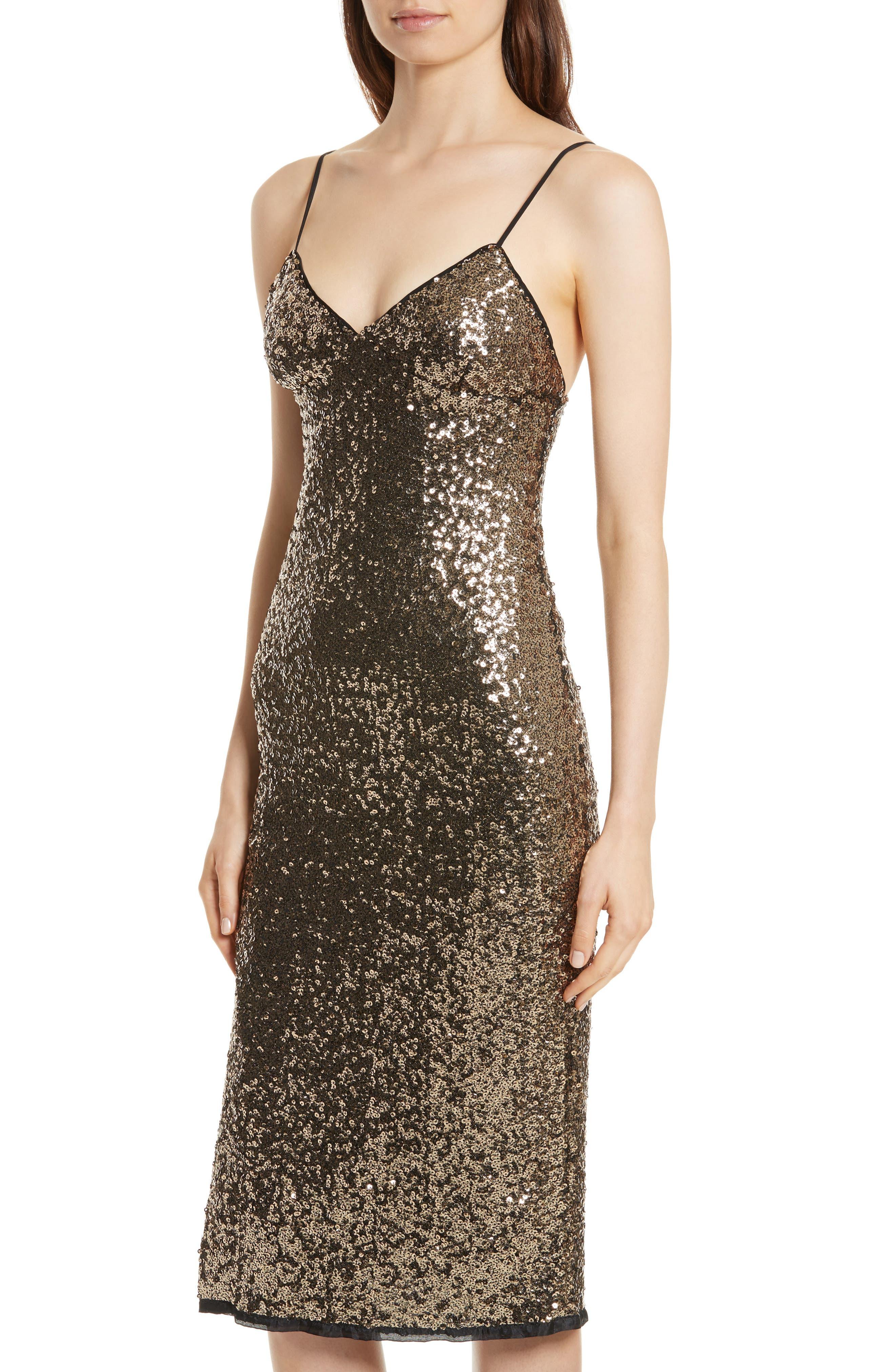 Alexis Sequin Camisole Dress,                             Alternate thumbnail 4, color,                             Antique Gold
