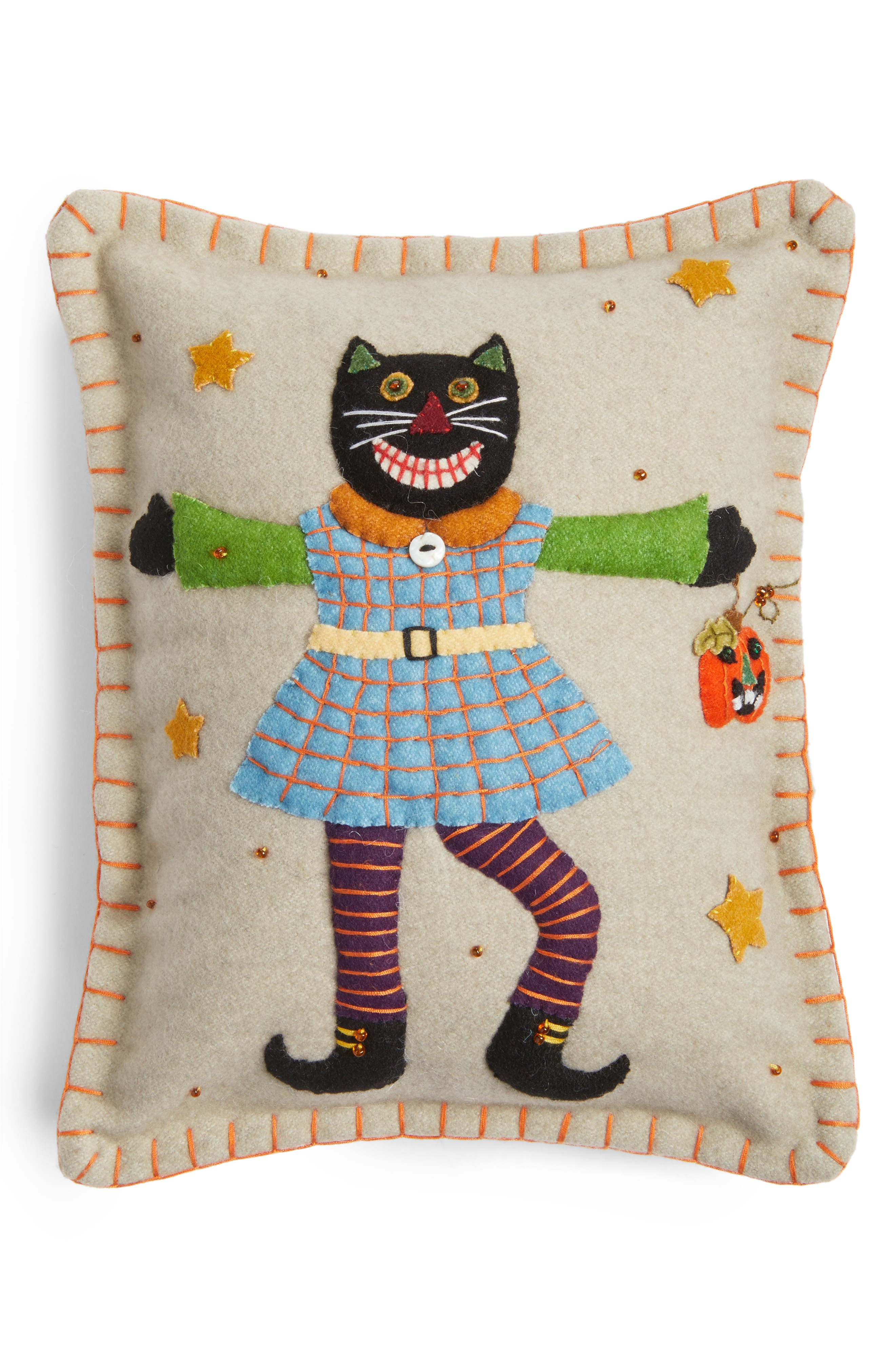New World Arts Black Cat Accent Pillow