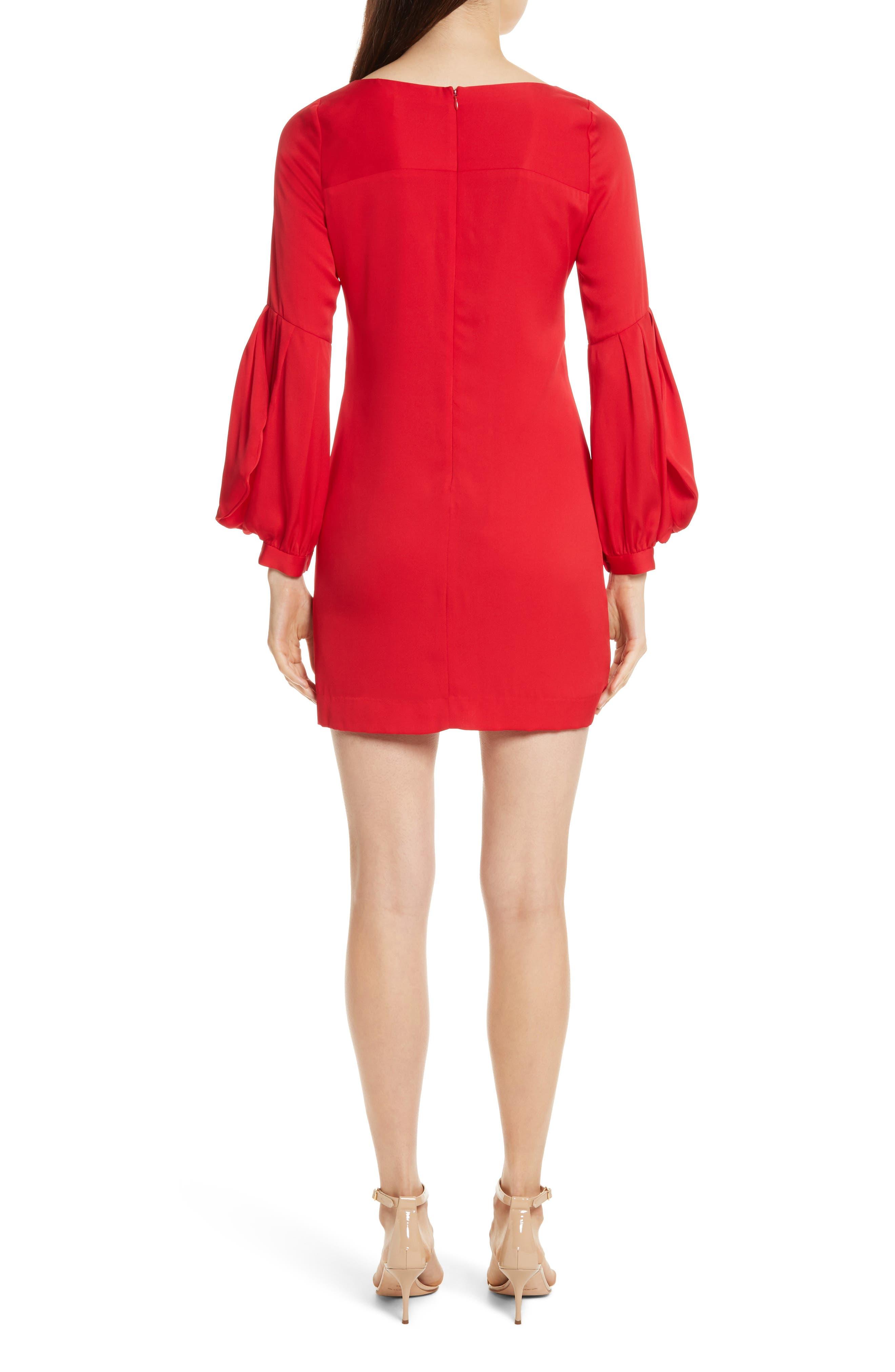 Shana Stretch Silk Bishop Sleeve Dress,                             Alternate thumbnail 2, color,                             Lipstick