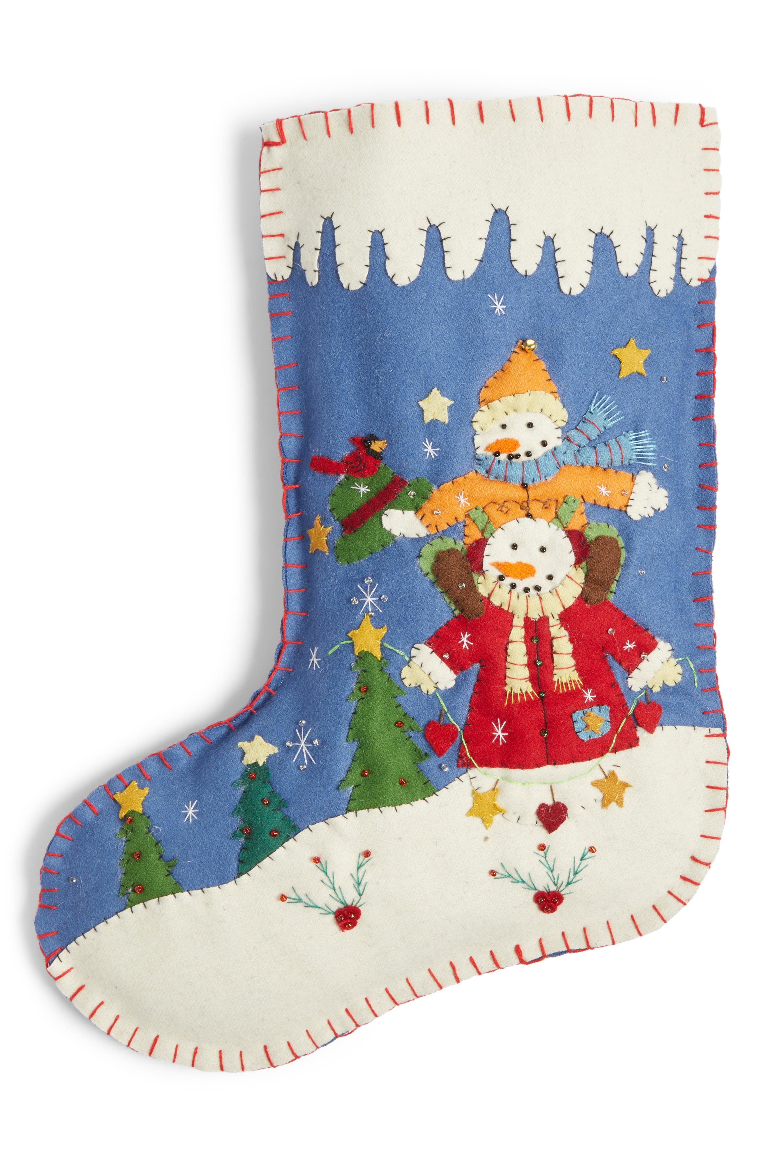 Snowman Dad & Snowkid Christmas Stocking,                         Main,                         color, Red