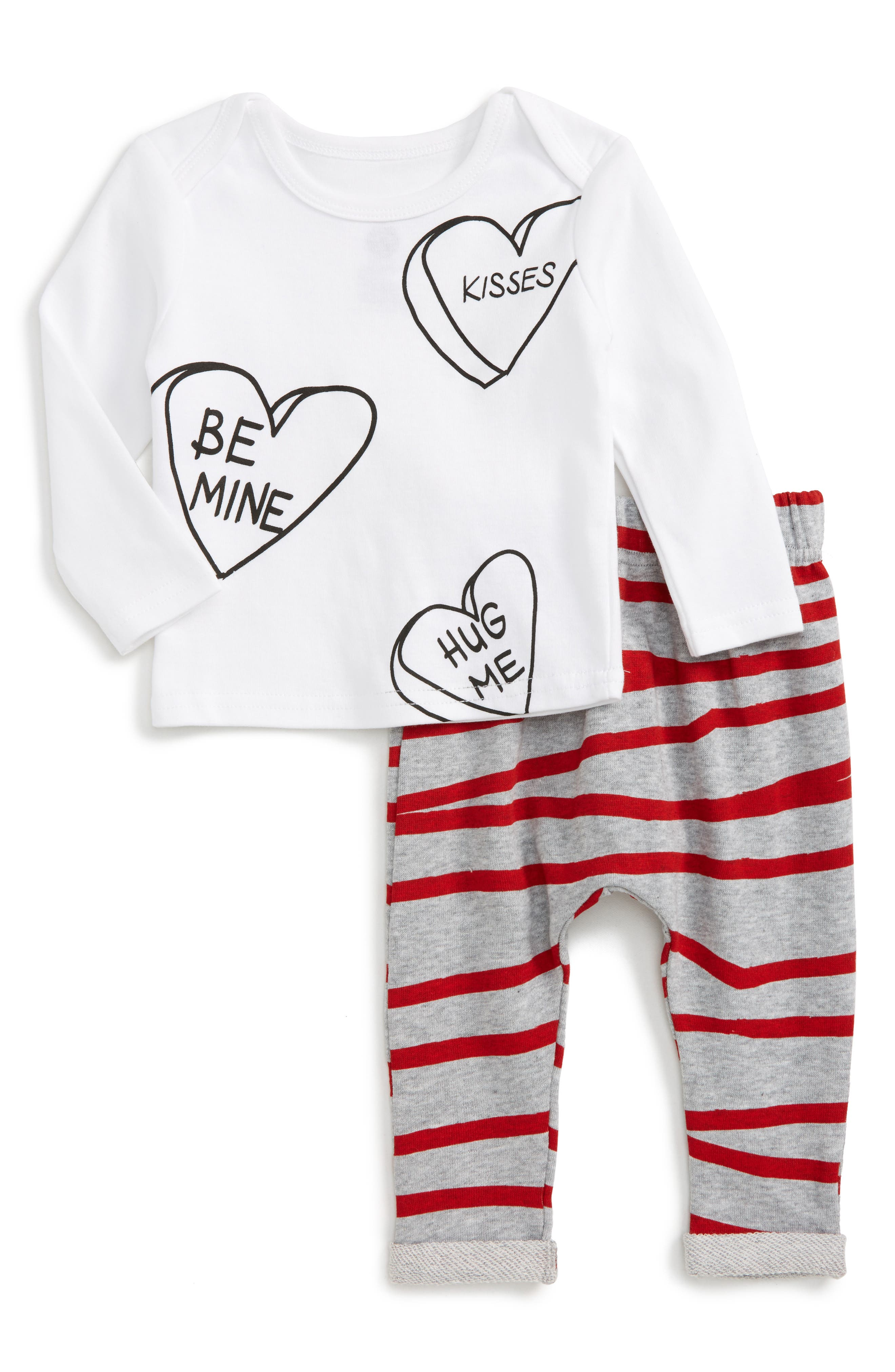 Be Mine Tee & Stripe Sweatpants Set,                             Main thumbnail 1, color,                             White/ Grey Marle