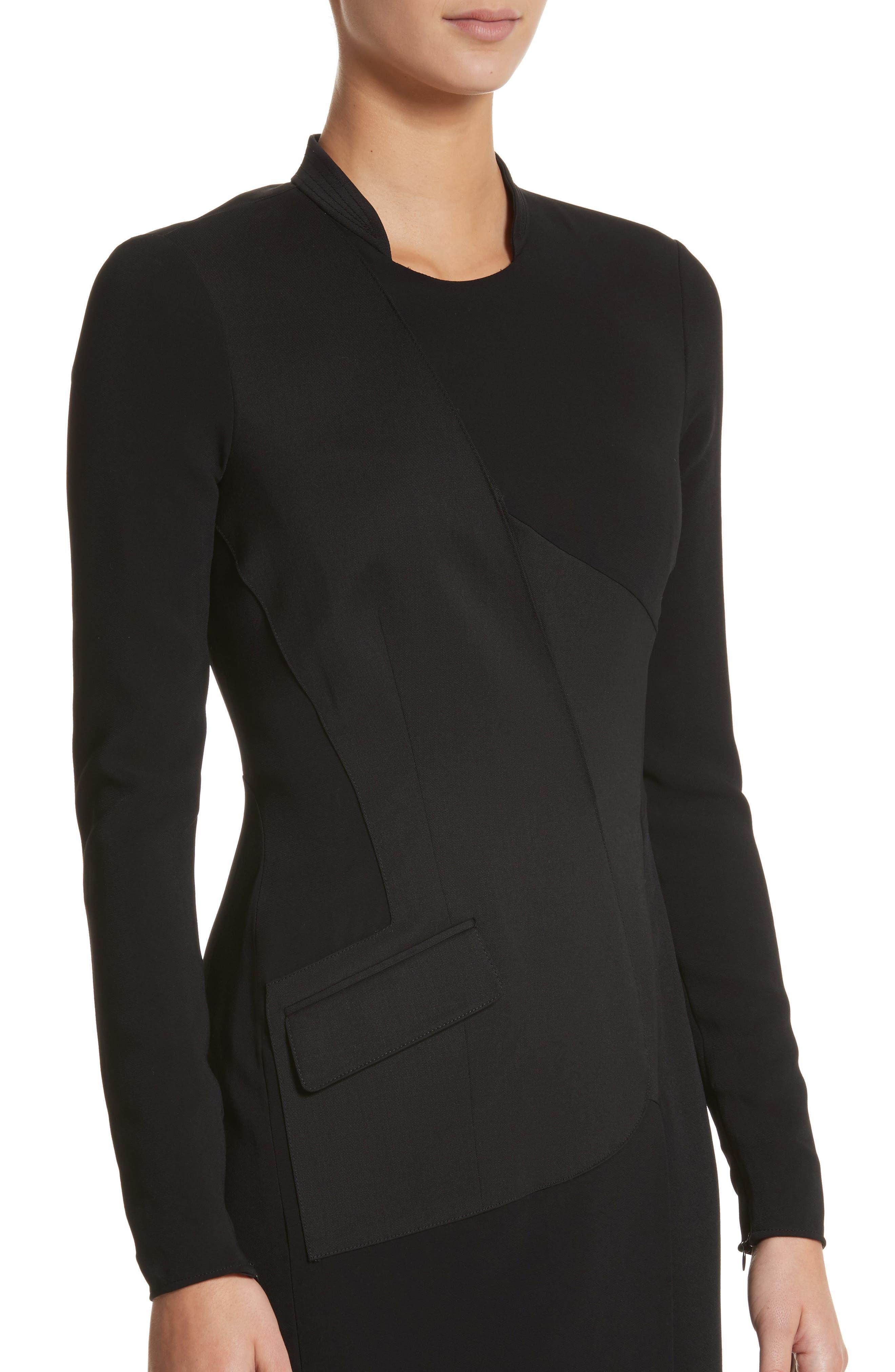 Miriam Sheath Dress,                             Alternate thumbnail 4, color,                             Black