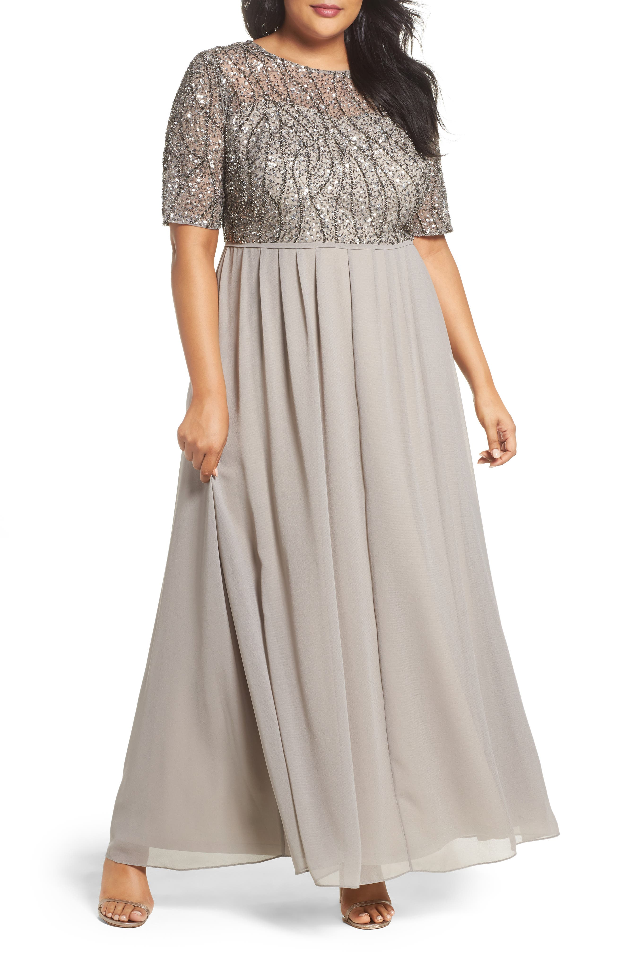 Adrianna Papell Beaded Bodice Gown (Plus Size)