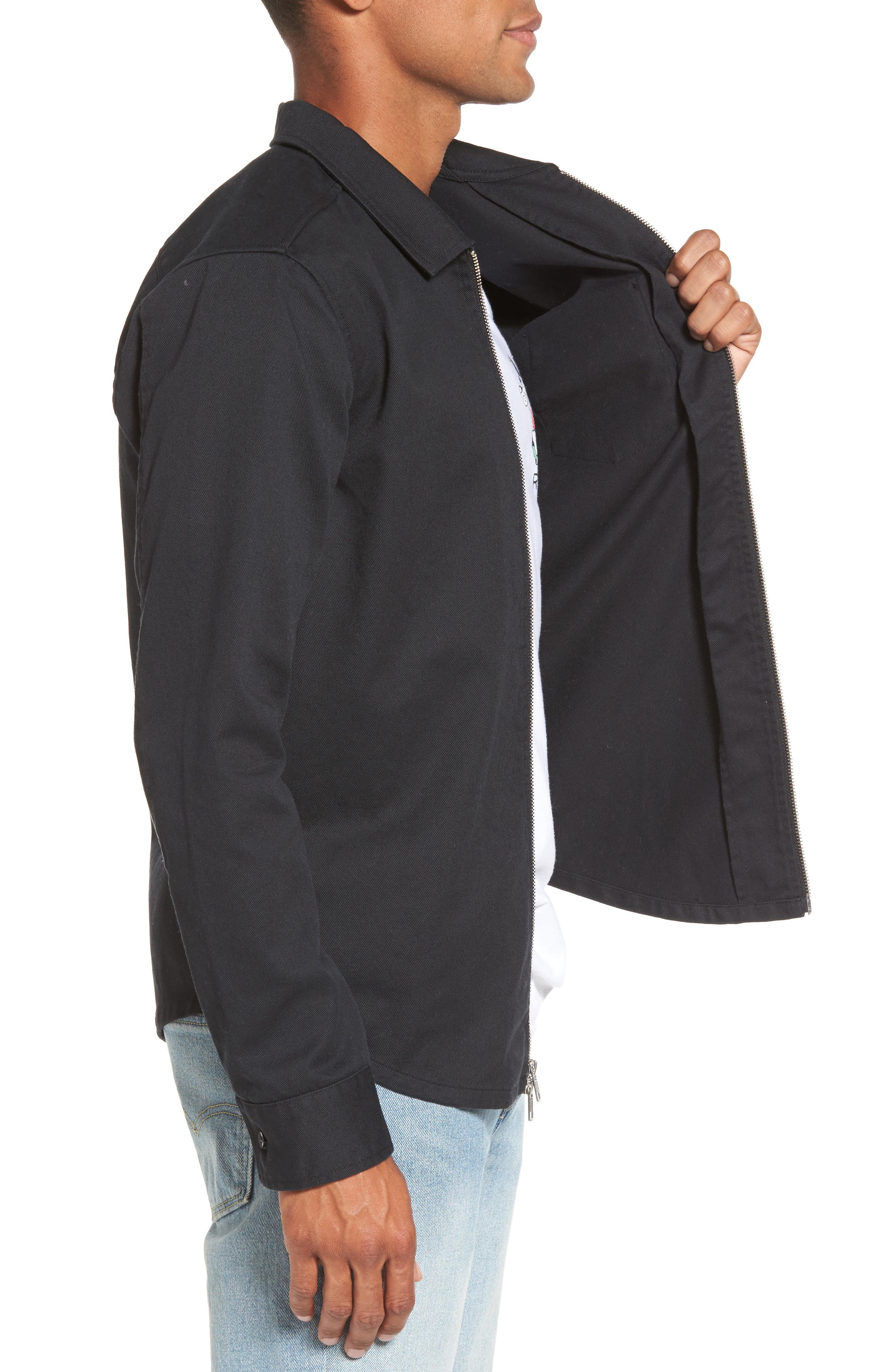 Rex Shirt Jacket,                             Alternate thumbnail 3, color,                             Black