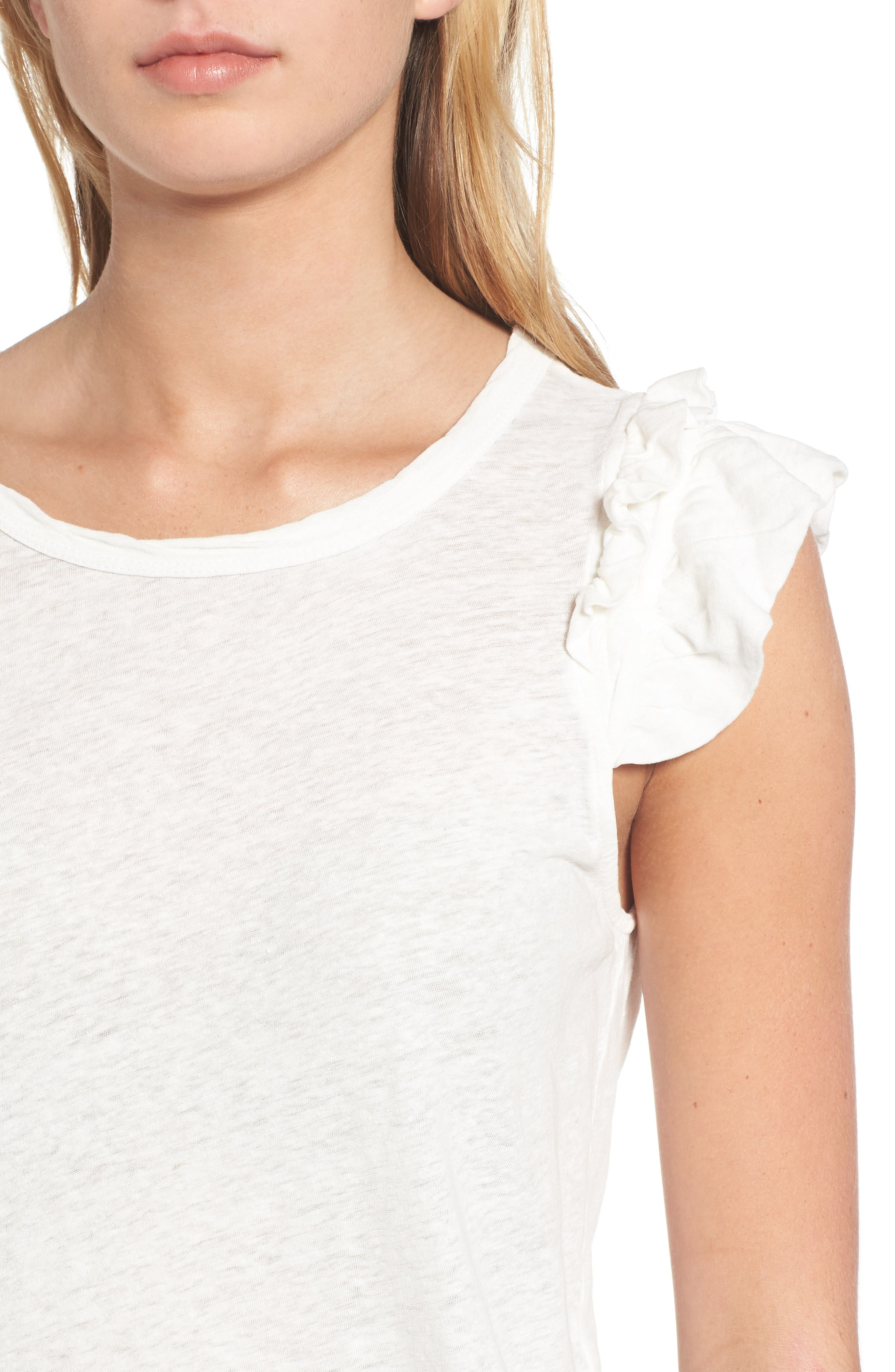 Alternate Image 4  - Current/Elliott The Double Ruffle Muscle Tee