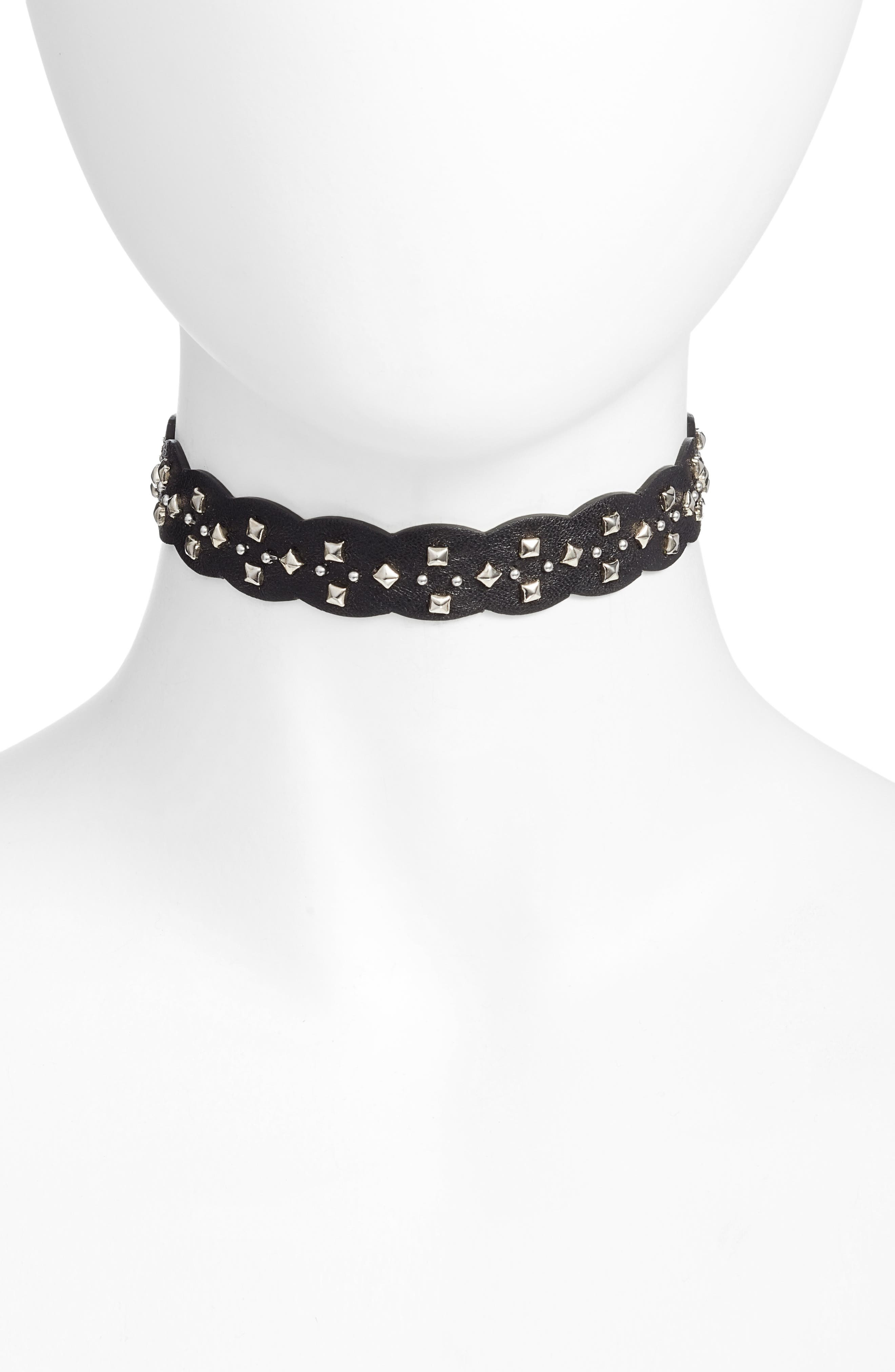 Leather Choker Necklace,                         Main,                         color, Black/ Silver