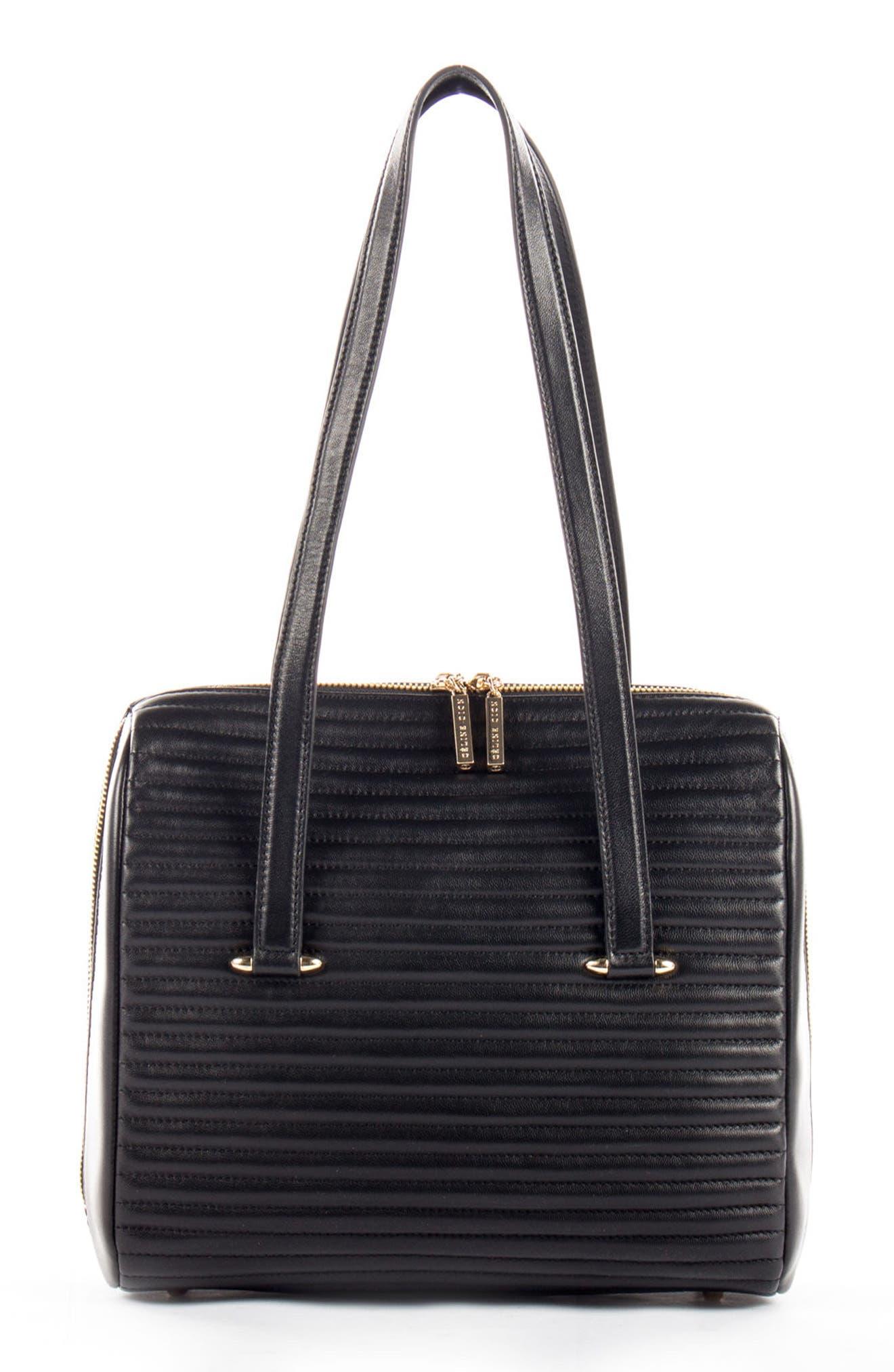 Céline Dion Vibrato Quilted Leather Satchel,                         Main,                         color, Black