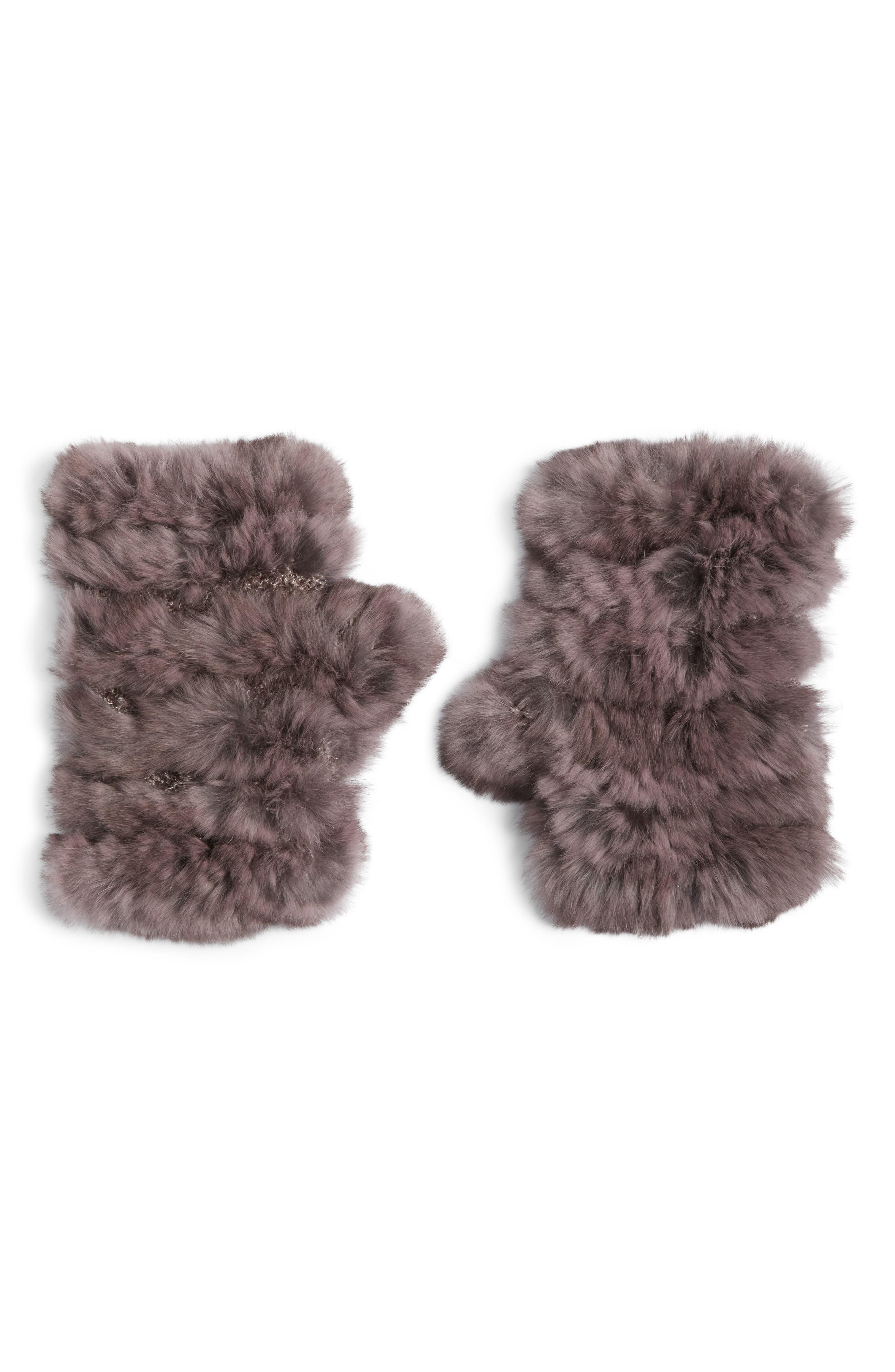Genuine Rabbit Fur Fingerless Knit Mittens,                         Main,                         color, Dusty Lavender
