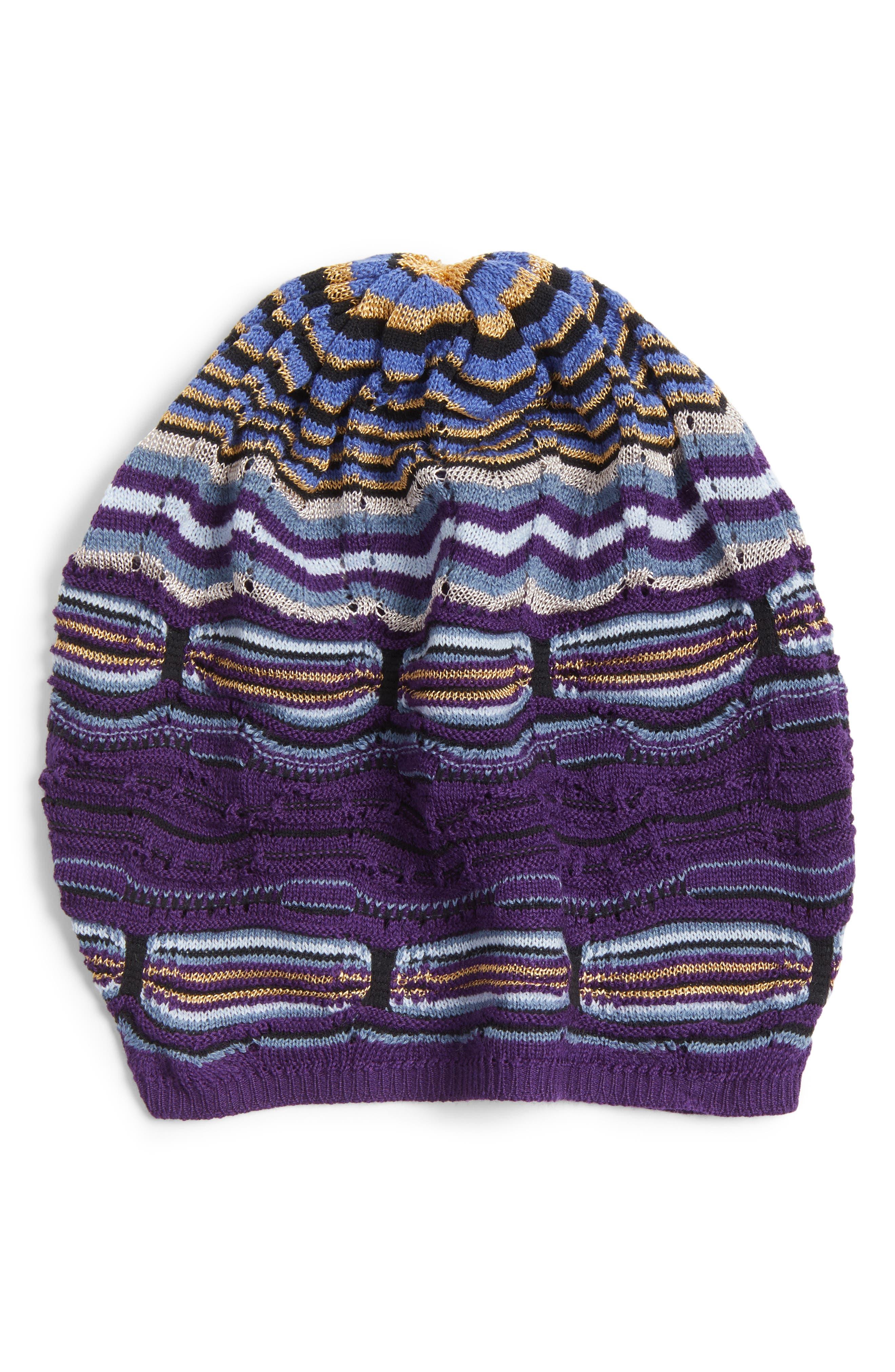 Stripe Slouchy Beanie,                         Main,                         color, Purple