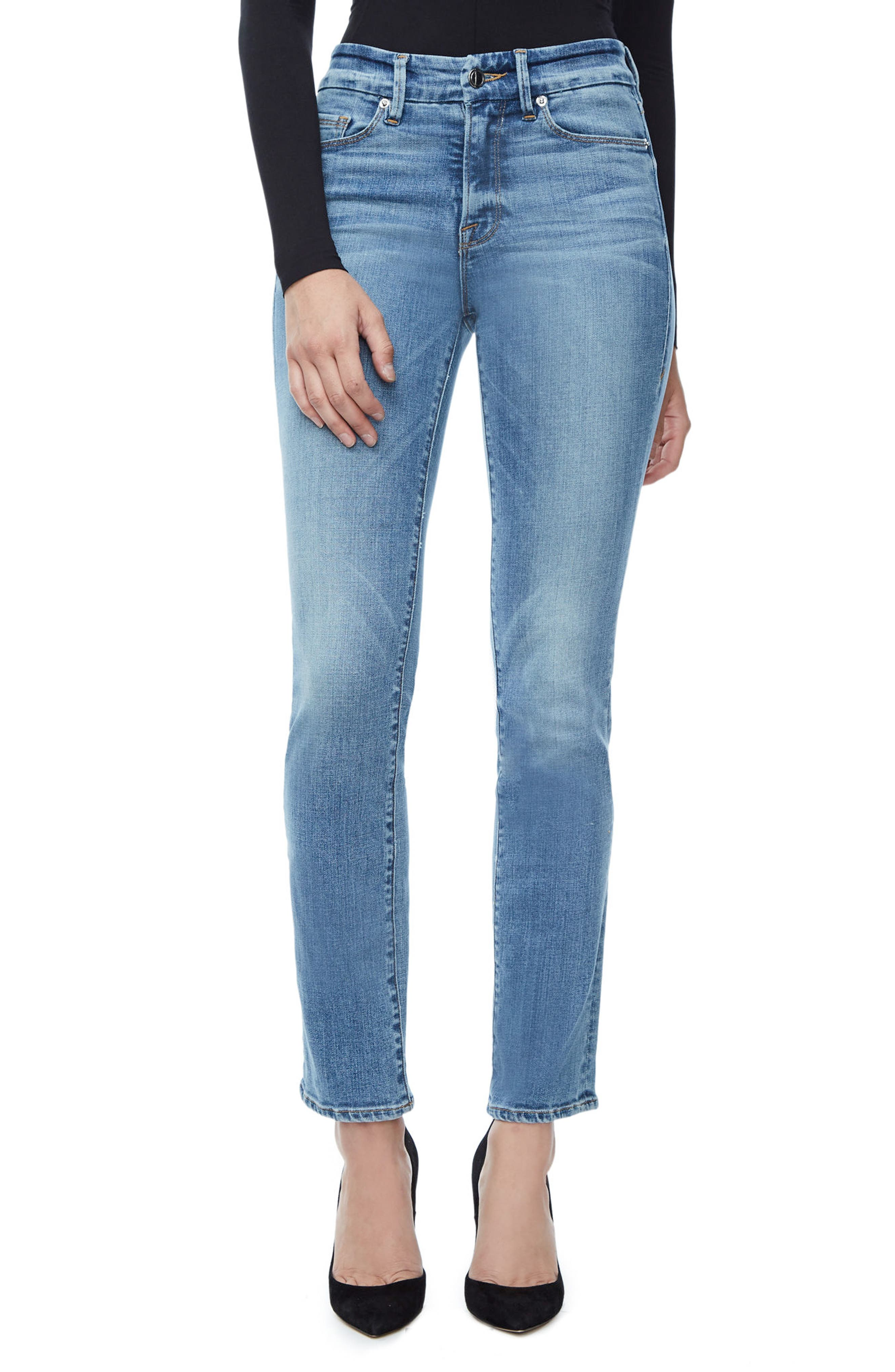 Alternate Image 1 Selected - Good American Good Straight High Rise Jeans (Blue 087) (Regular & Plus Size)