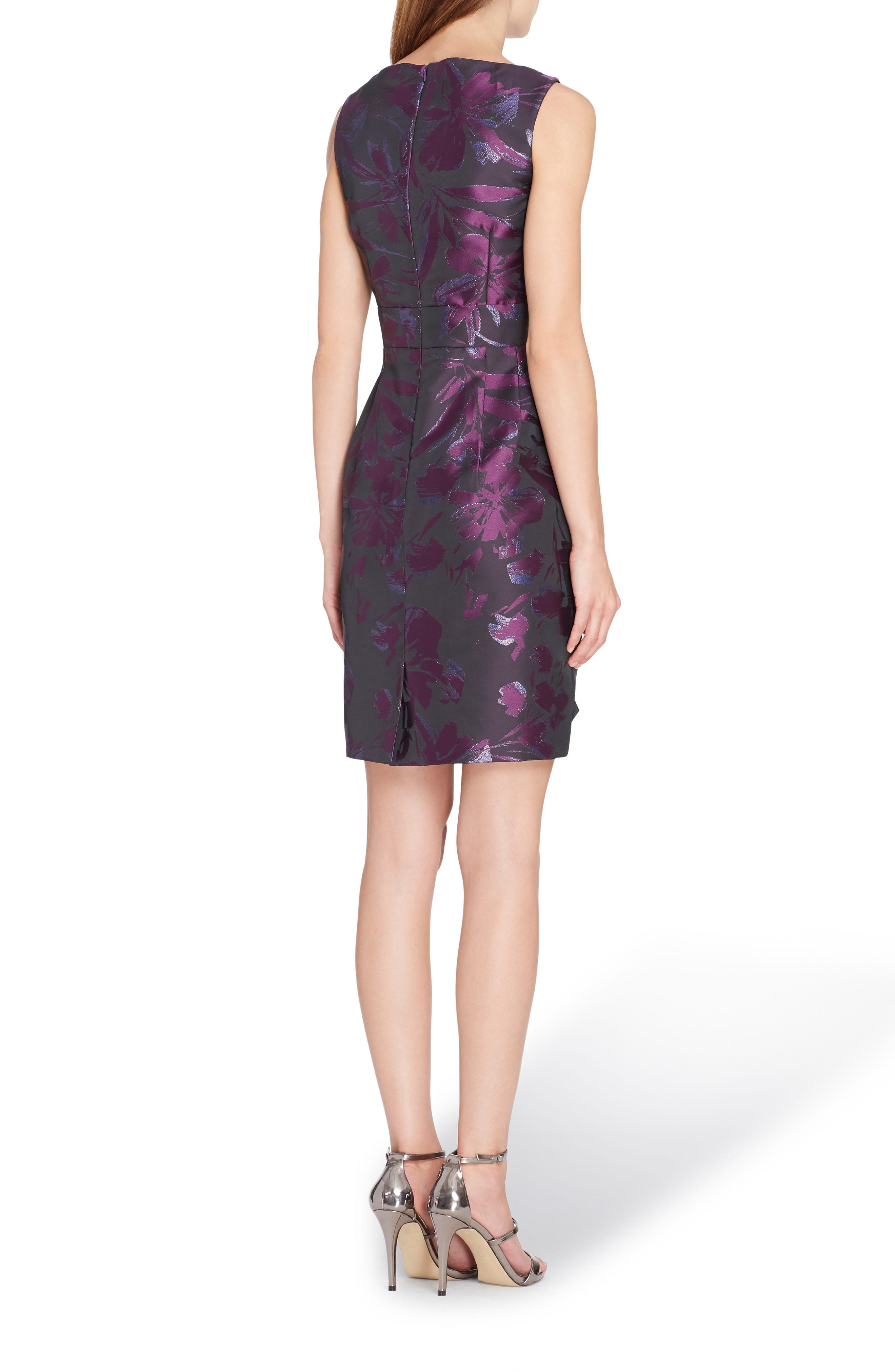 Metallic Jacquard Sheath Dress,                             Alternate thumbnail 2, color,                             Black/ Plum/ Navy