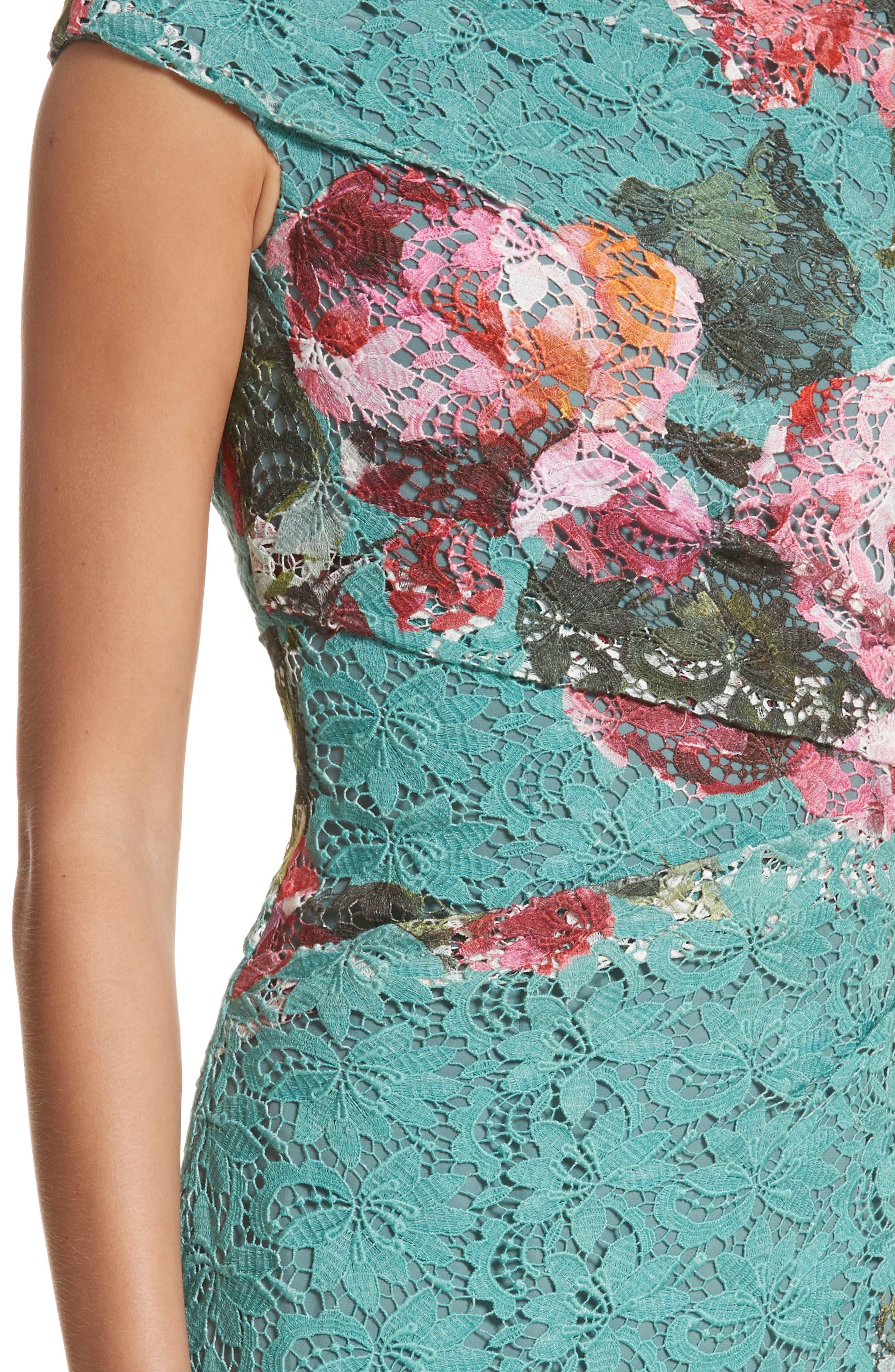 Alternate Image 5  - Monique Lhuillier Rose Print Guipure Sheath Dress