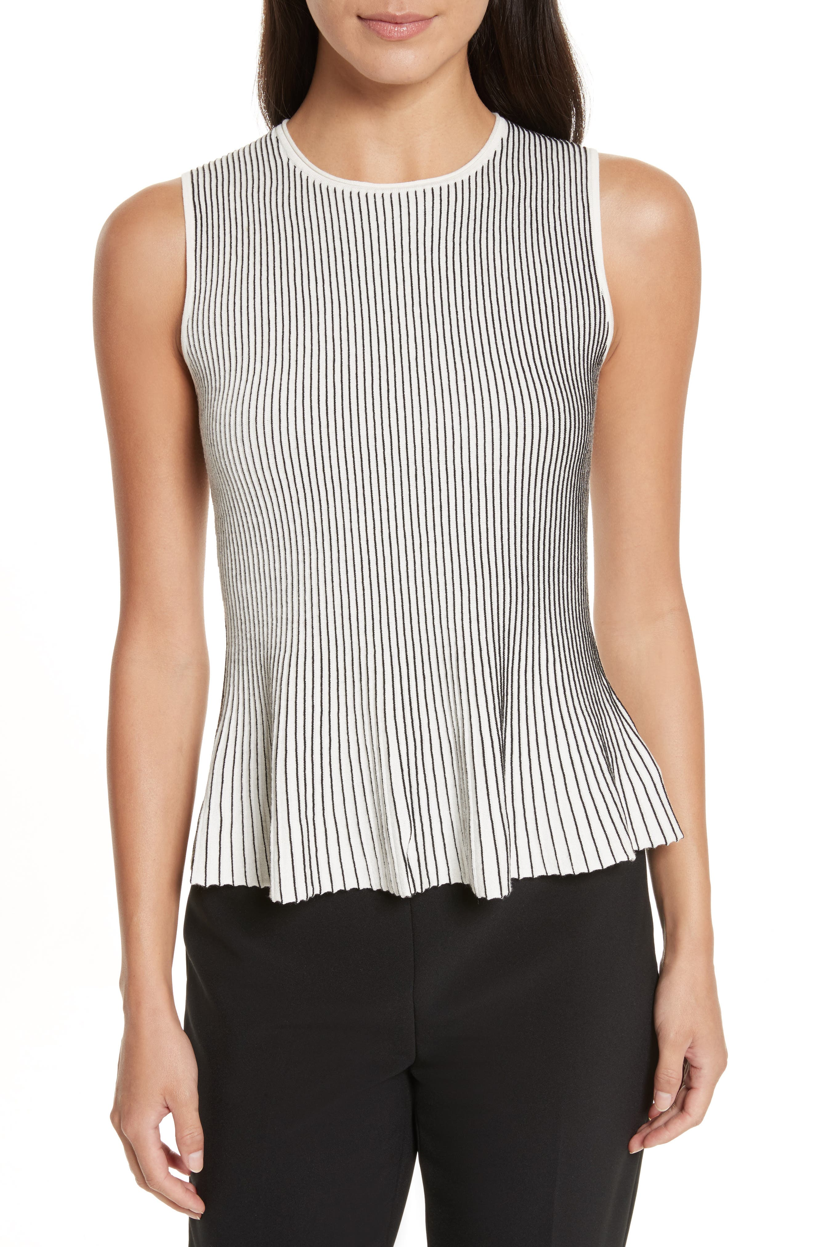 Canelis Prosecco Sleeveless Rib Knit Top,                         Main,                         color, Eggshell/ Black