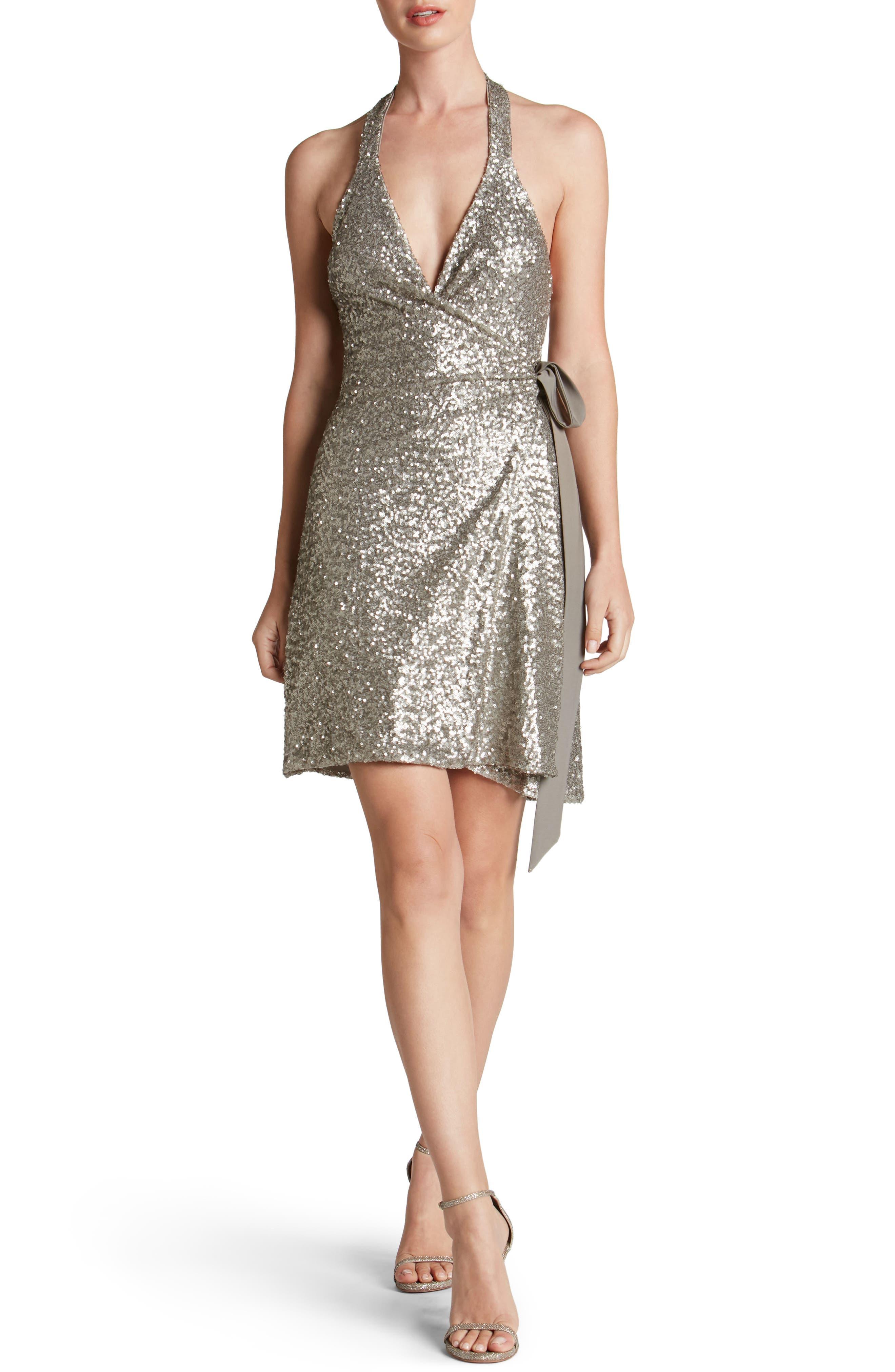 Danielle Sequin Wrap Mini Dress,                         Main,                         color, Platinum