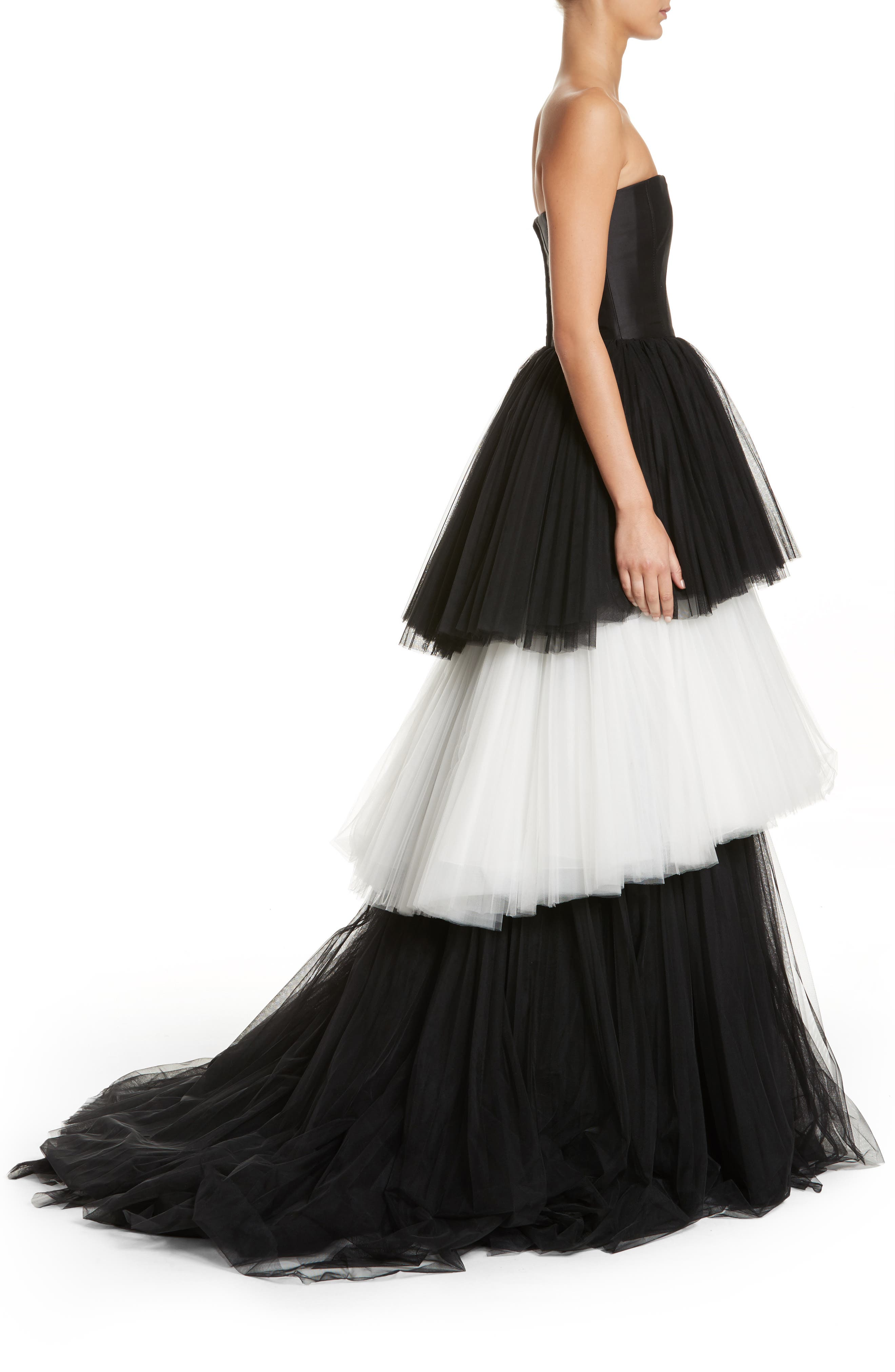Strapless Layered Tulle Gown,                             Alternate thumbnail 3, color,                             Black/White