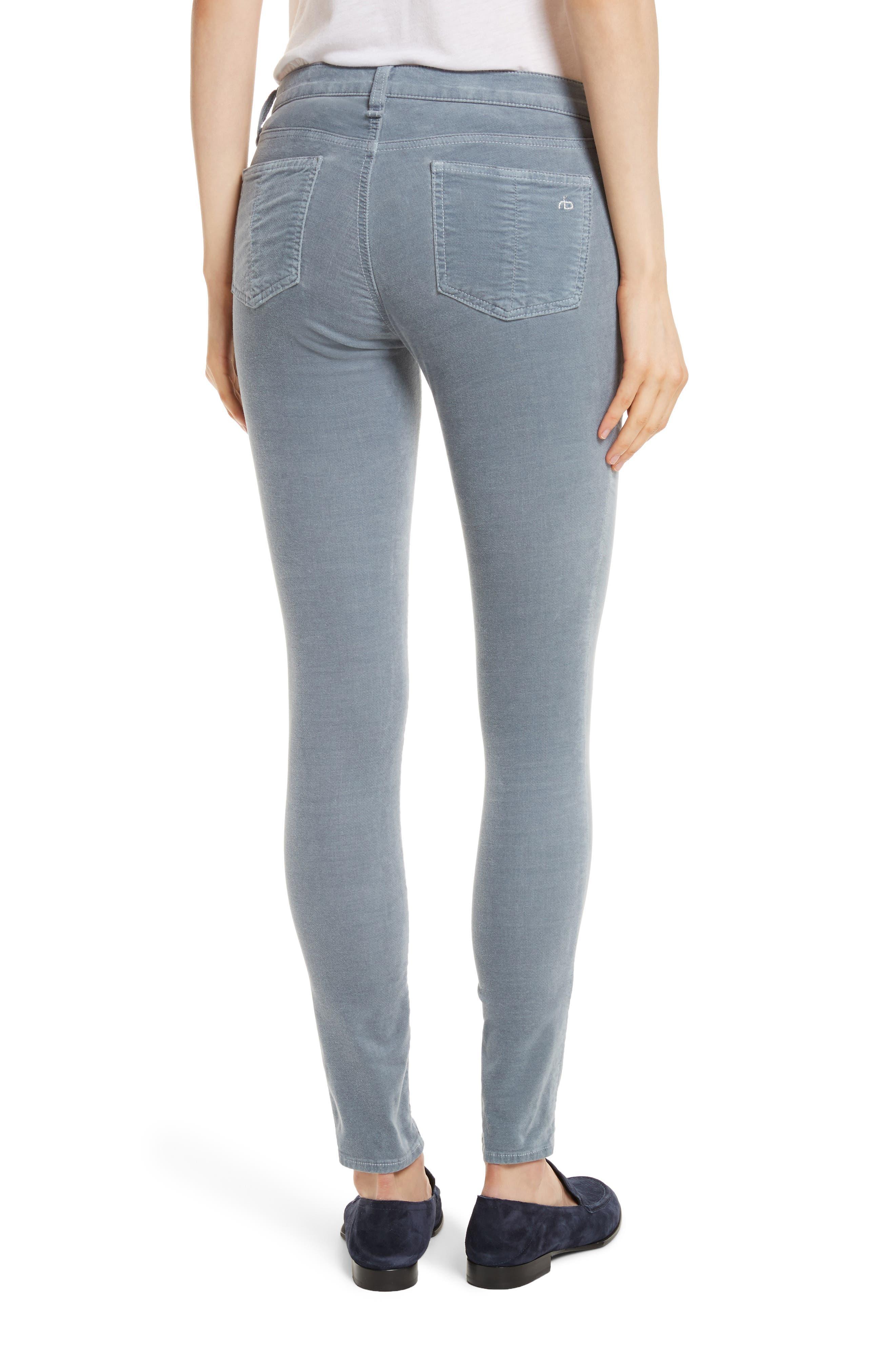Velvet Skinny Jeans,                             Alternate thumbnail 2, color,                             Steel Blue Velvet