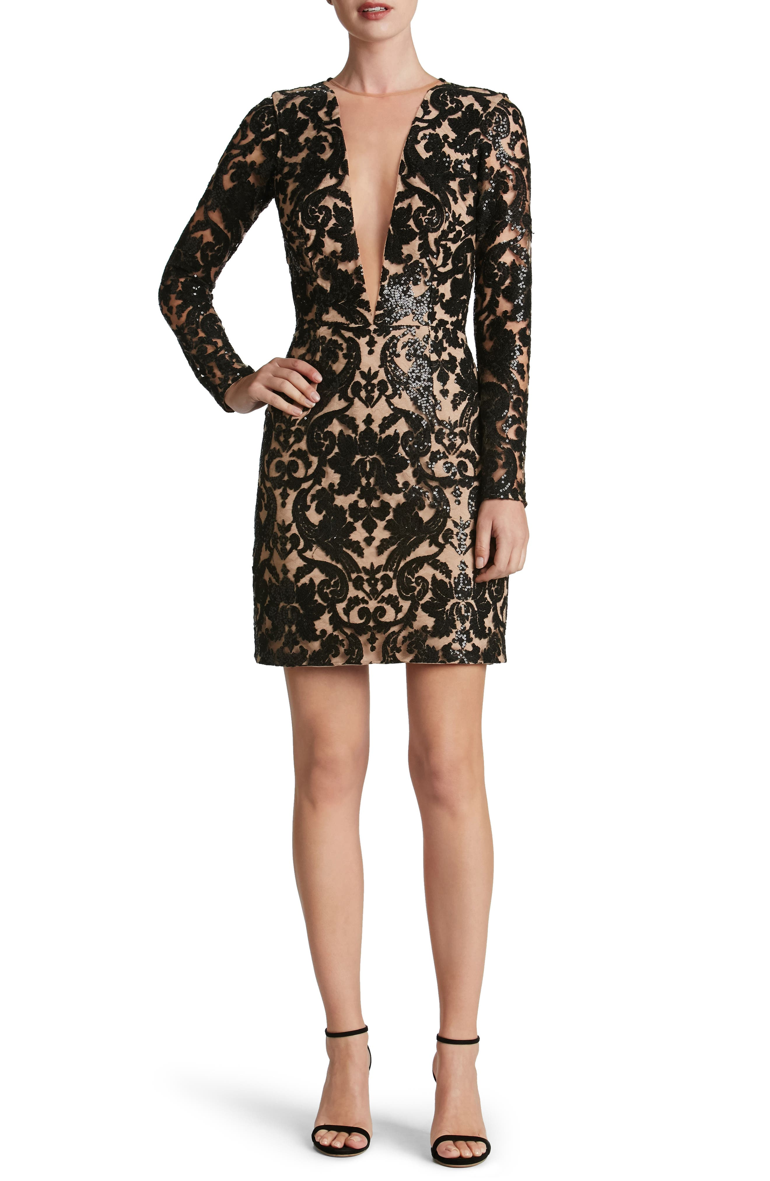 Claudia Plunging Illusion Sequin Lace Minidress,                             Main thumbnail 1, color,                             Black/ Nude