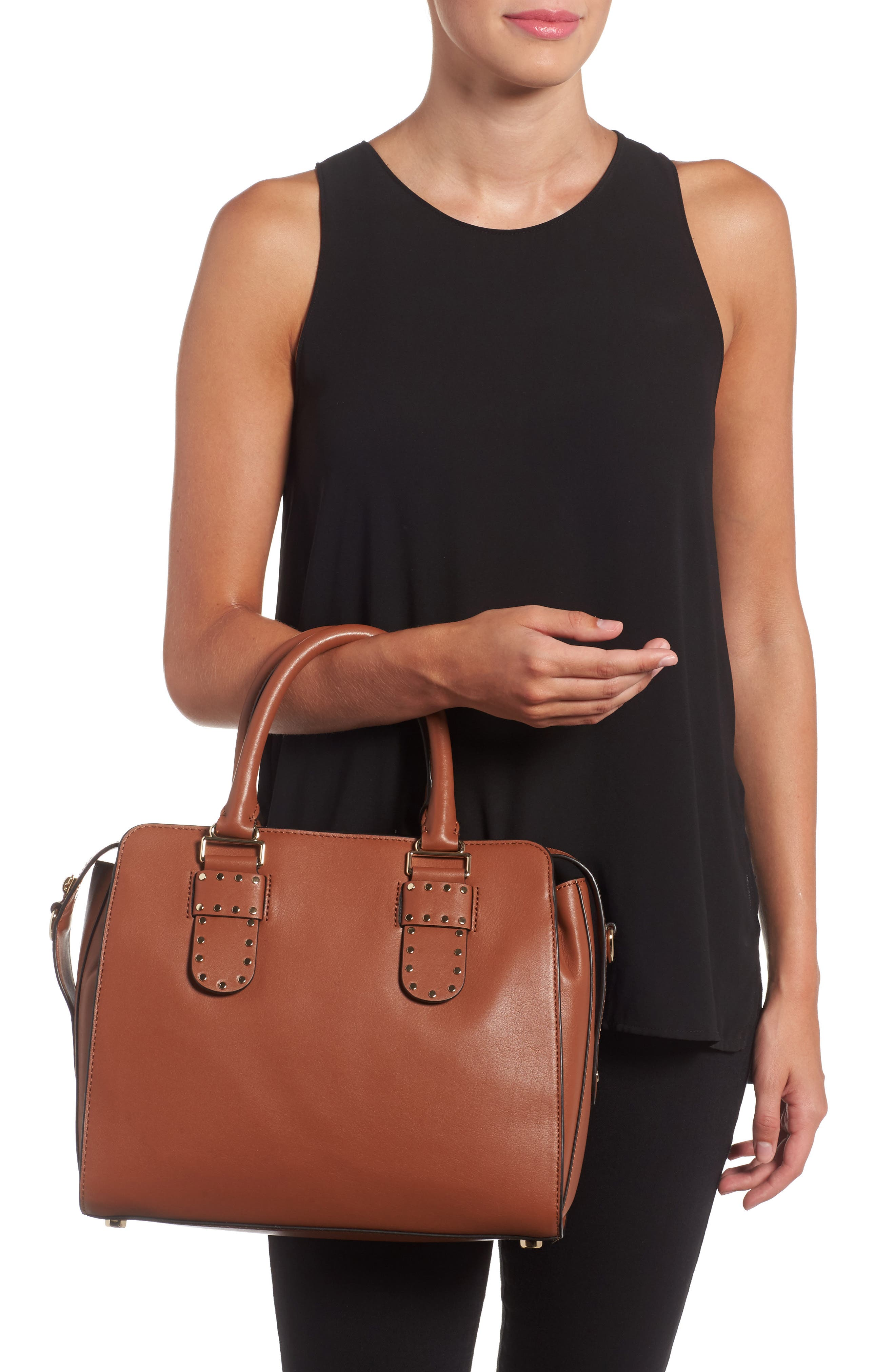 Midnighter Leather Work Tote,                             Alternate thumbnail 2, color,                             Almond