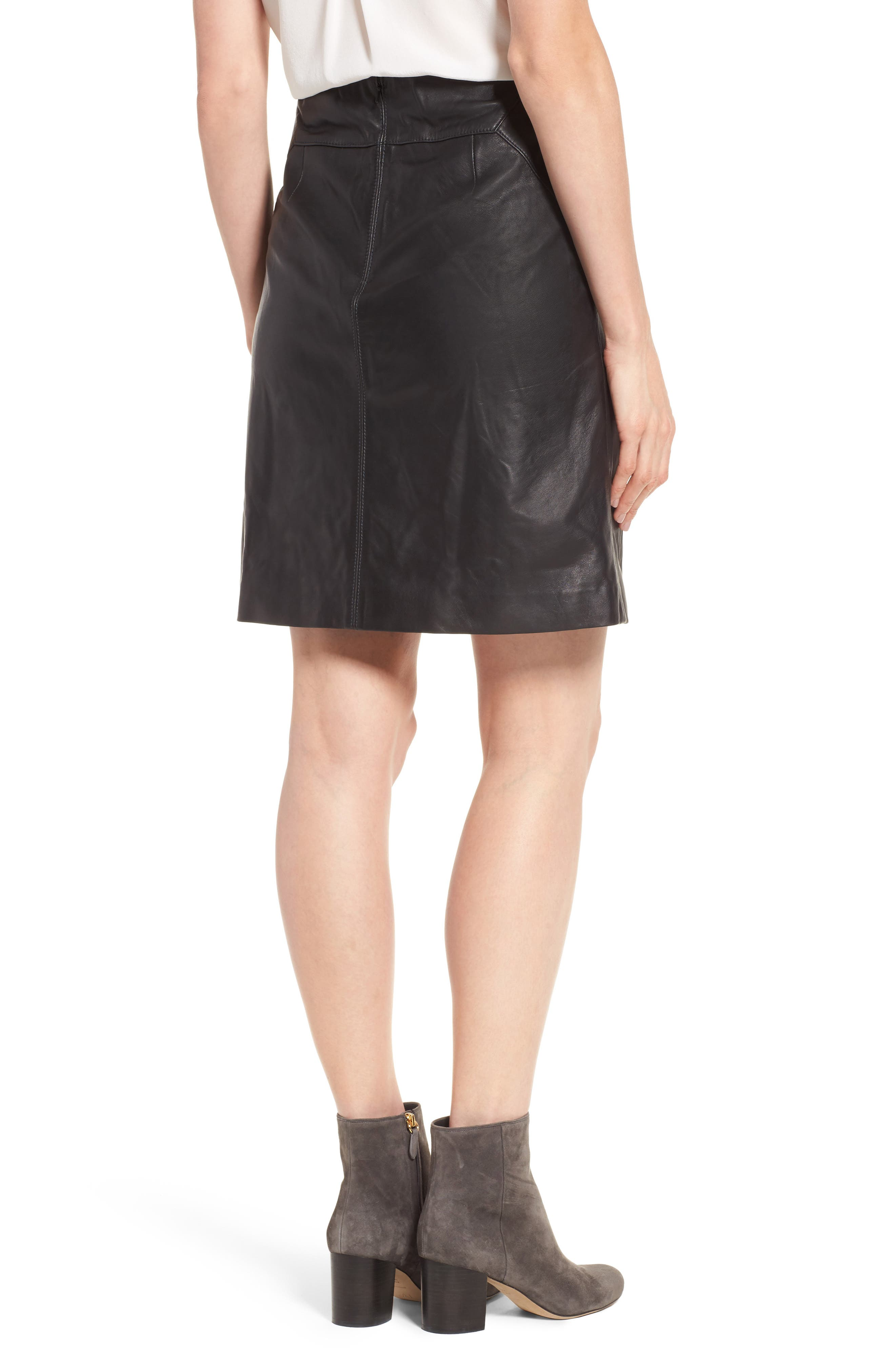 Leather Skirt,                             Alternate thumbnail 3, color,                             Black