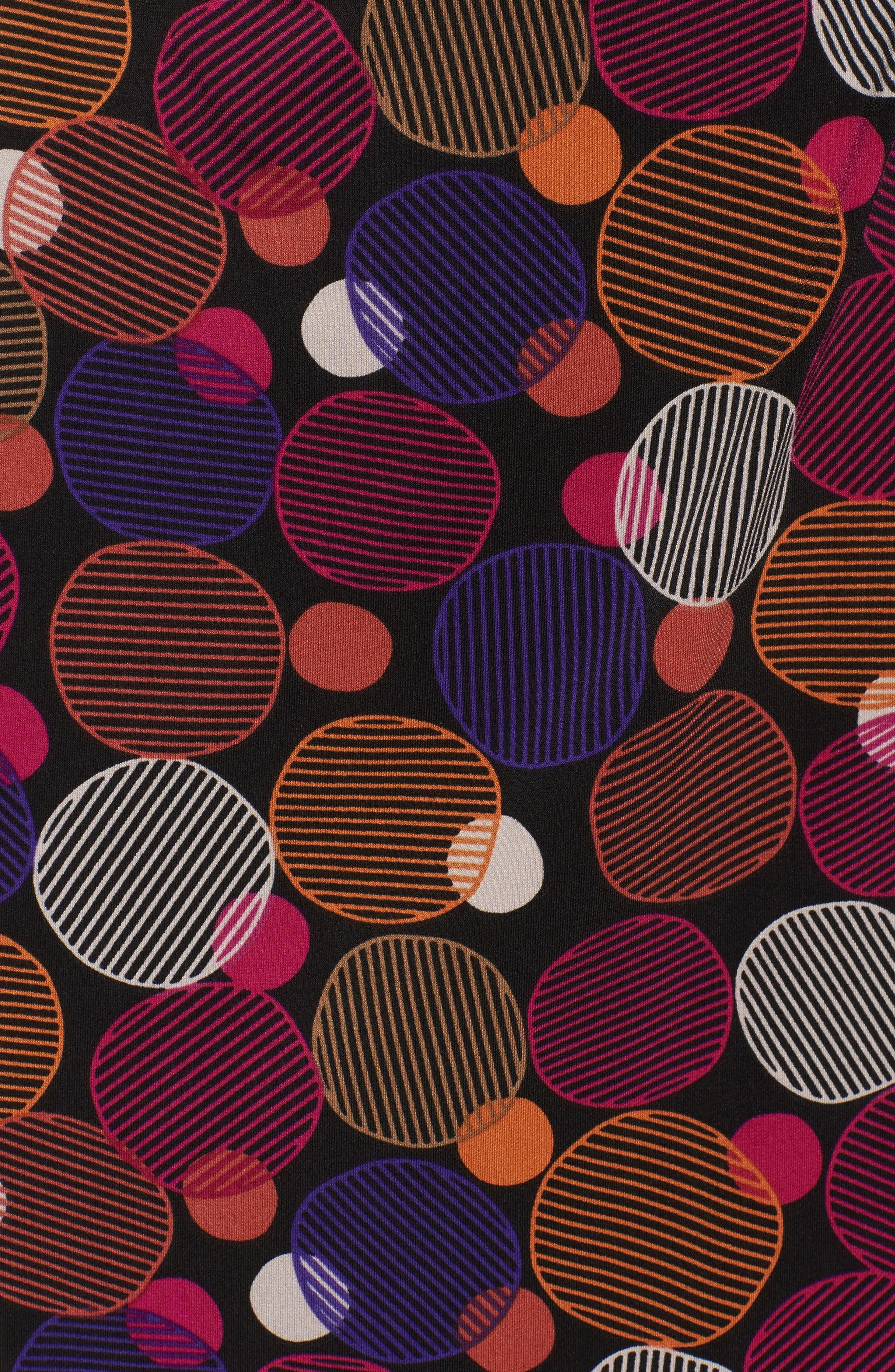 Dot Print Faux Wrap Dress,                             Alternate thumbnail 5, color,                             Cinnamon/ Claret Combo