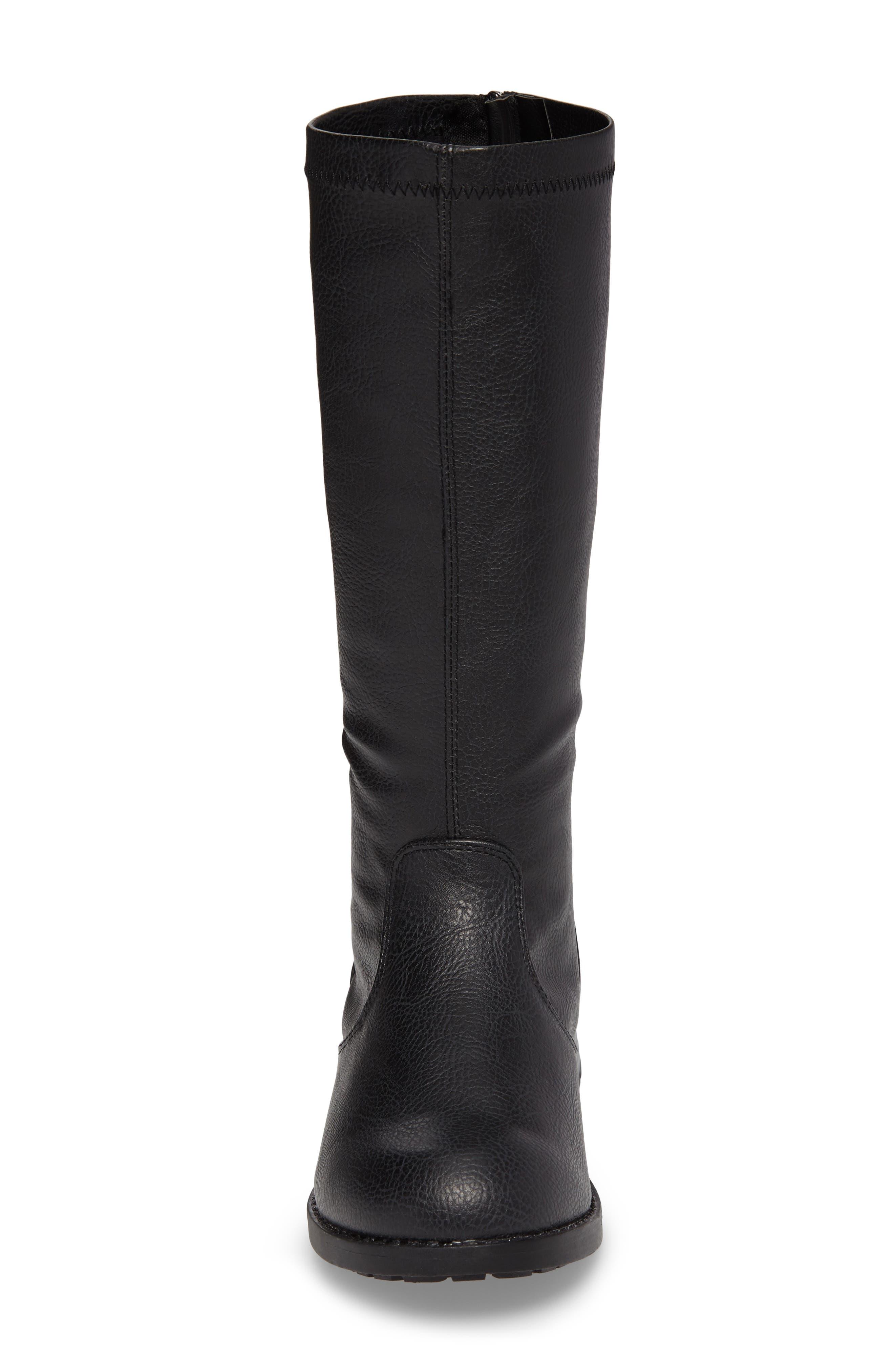 Autumn Stretch Boot,                             Alternate thumbnail 4, color,                             Black Faux Leather