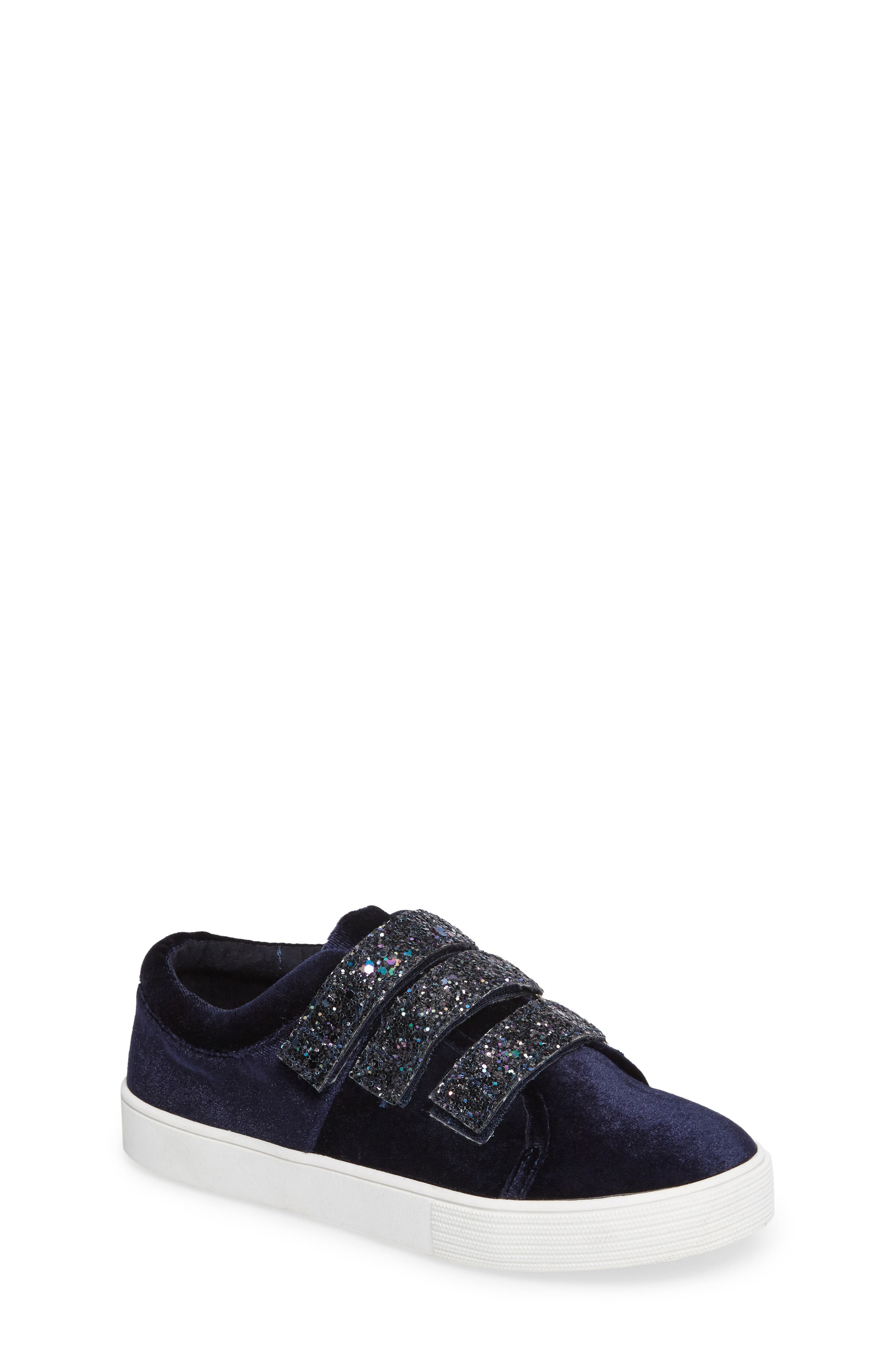 Kam Glitter Strap Sneaker,                             Main thumbnail 1, color,                             Navy Fabric