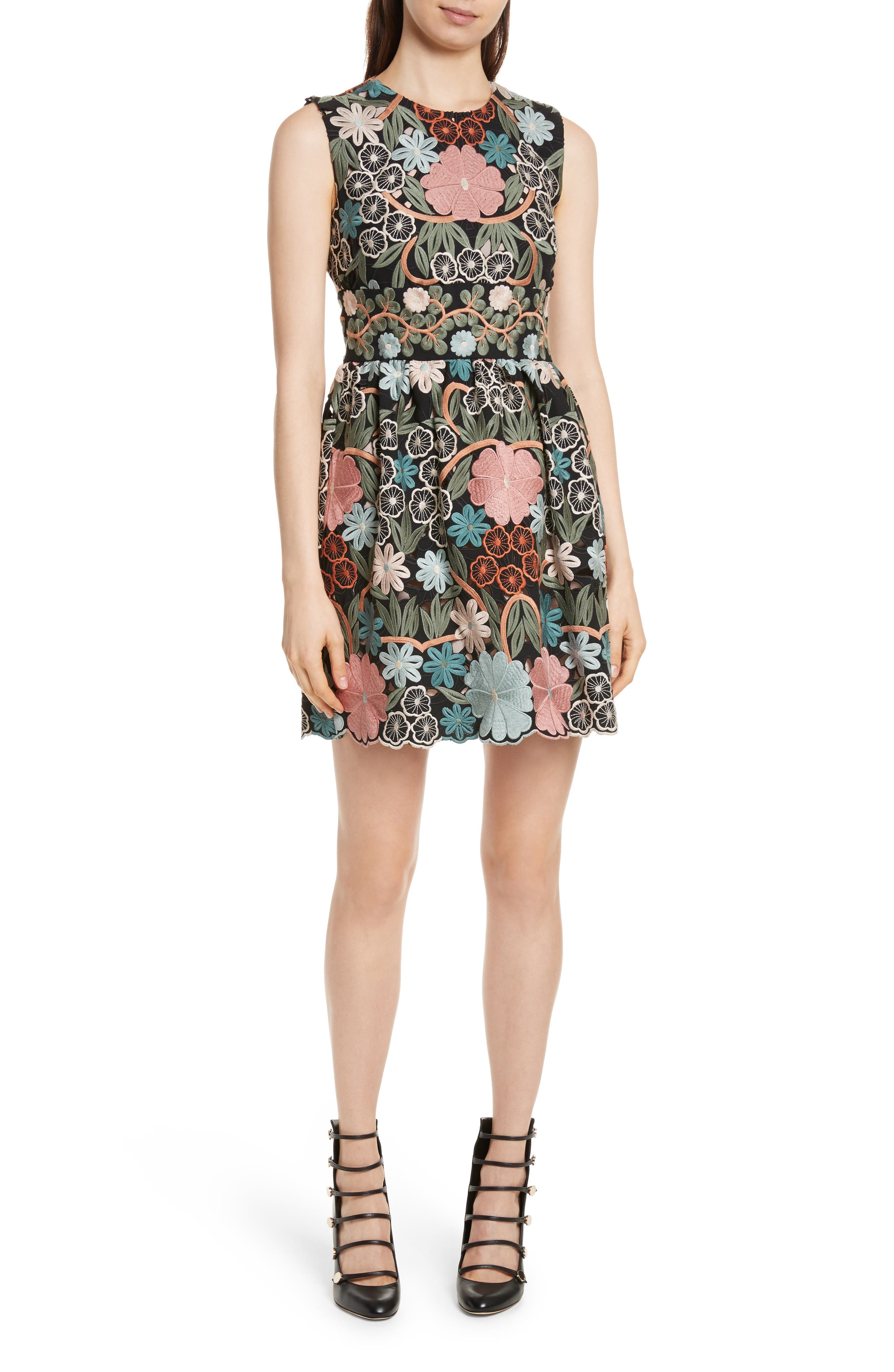 RED Valentino Floral Embroidered Crepe Sable Dress
