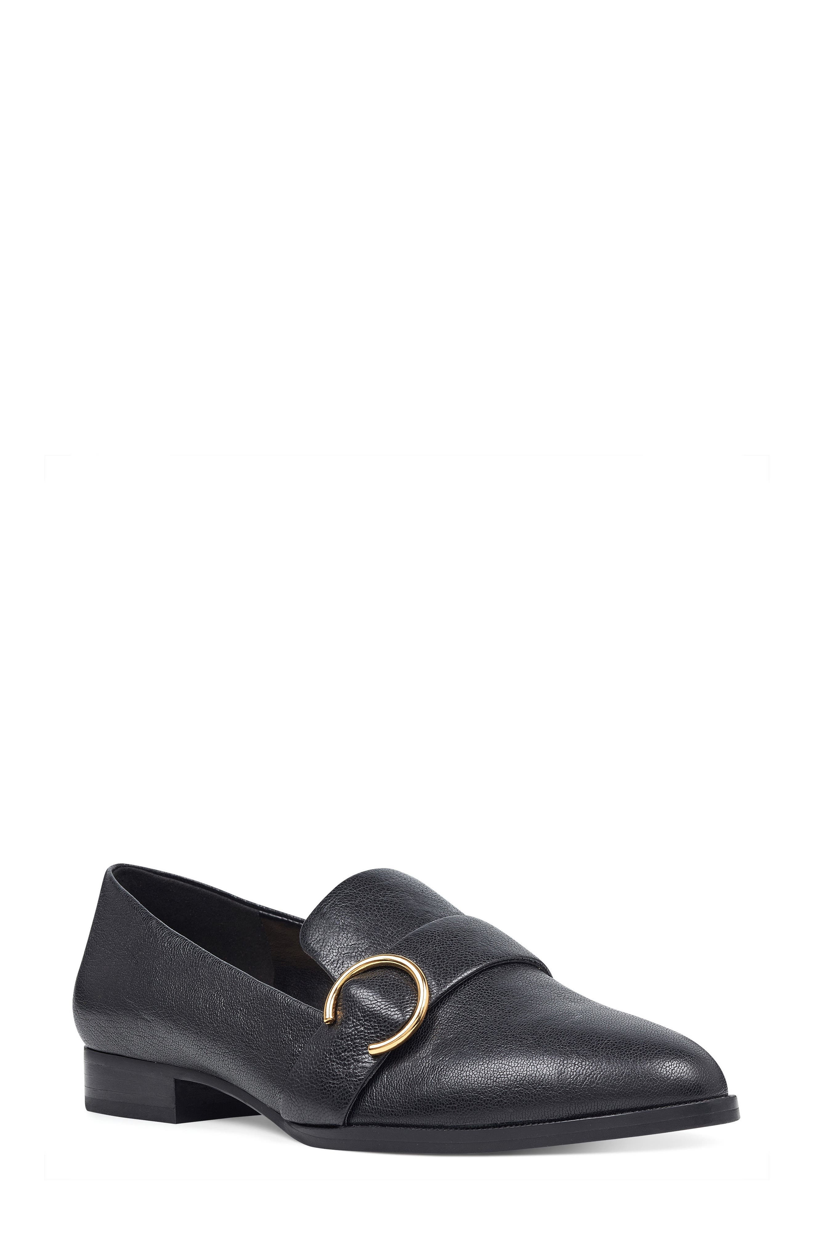 Huff Loafer Flat,                             Main thumbnail 1, color,                             Black Leather