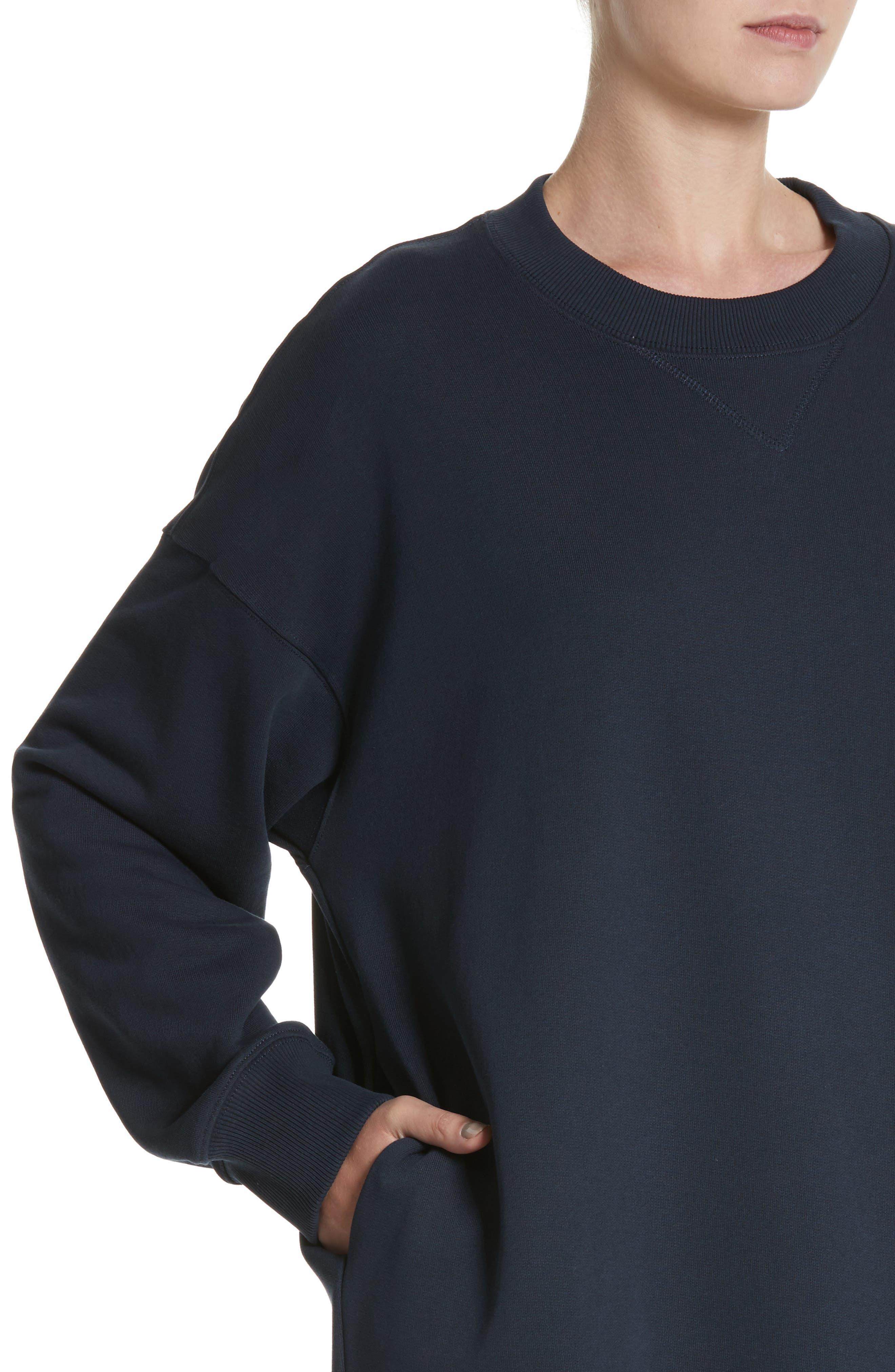 Sweatshirt Dress,                             Alternate thumbnail 4, color,                             Navy