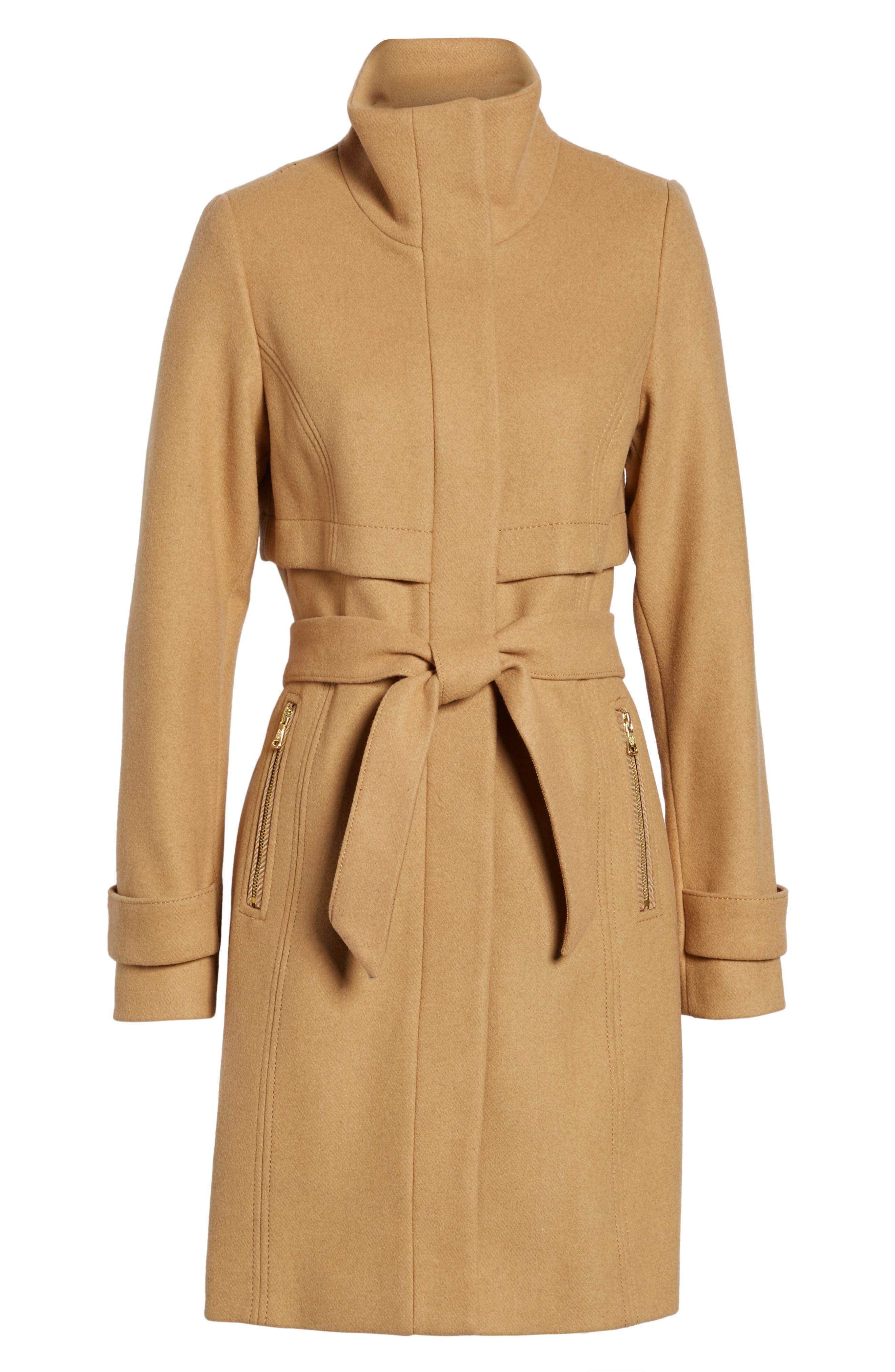 Flange Belted Coat,                             Alternate thumbnail 6, color,                             Camel