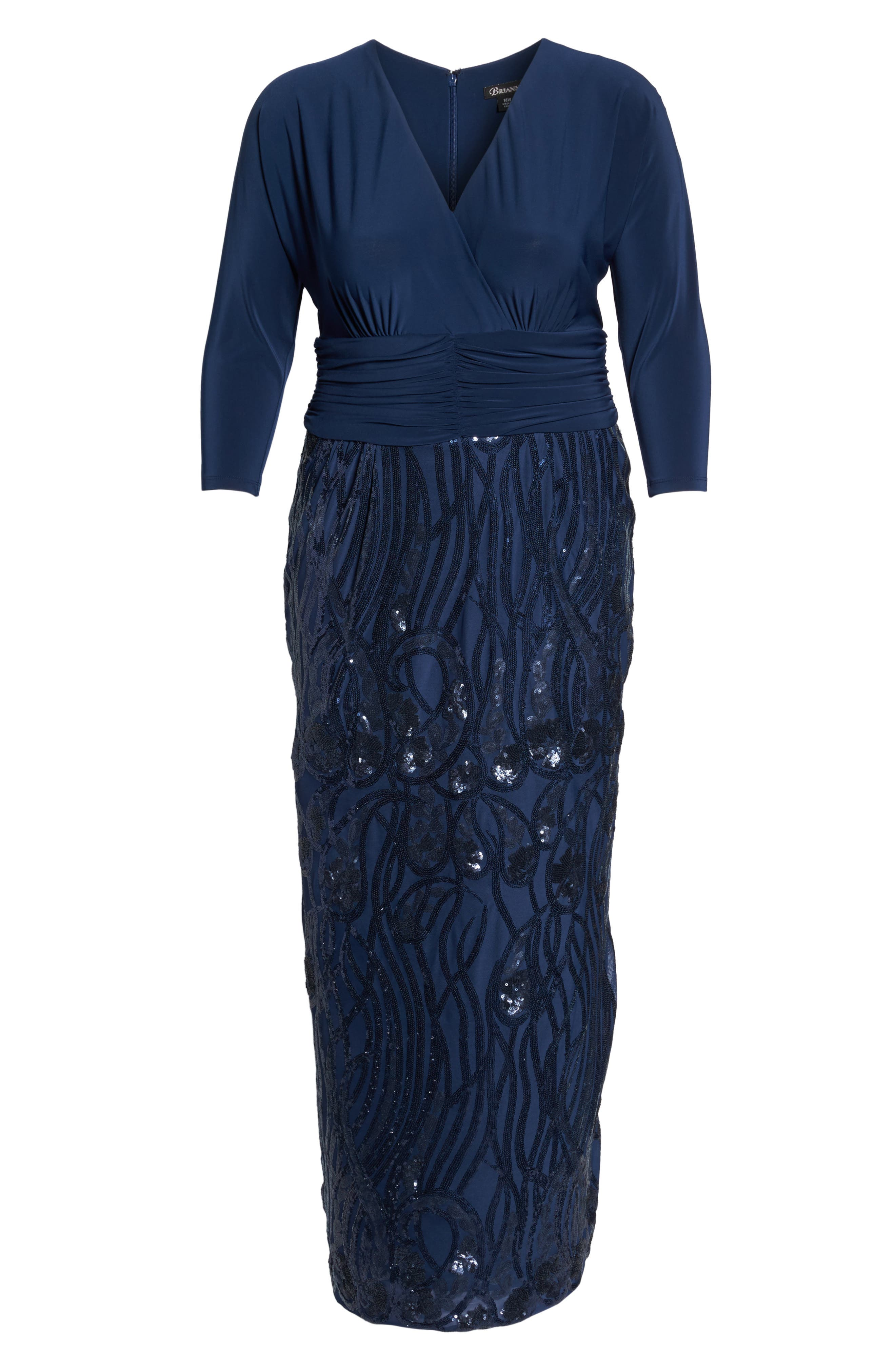 Embellished Shirred Waist Gown,                             Alternate thumbnail 6, color,                             Navy